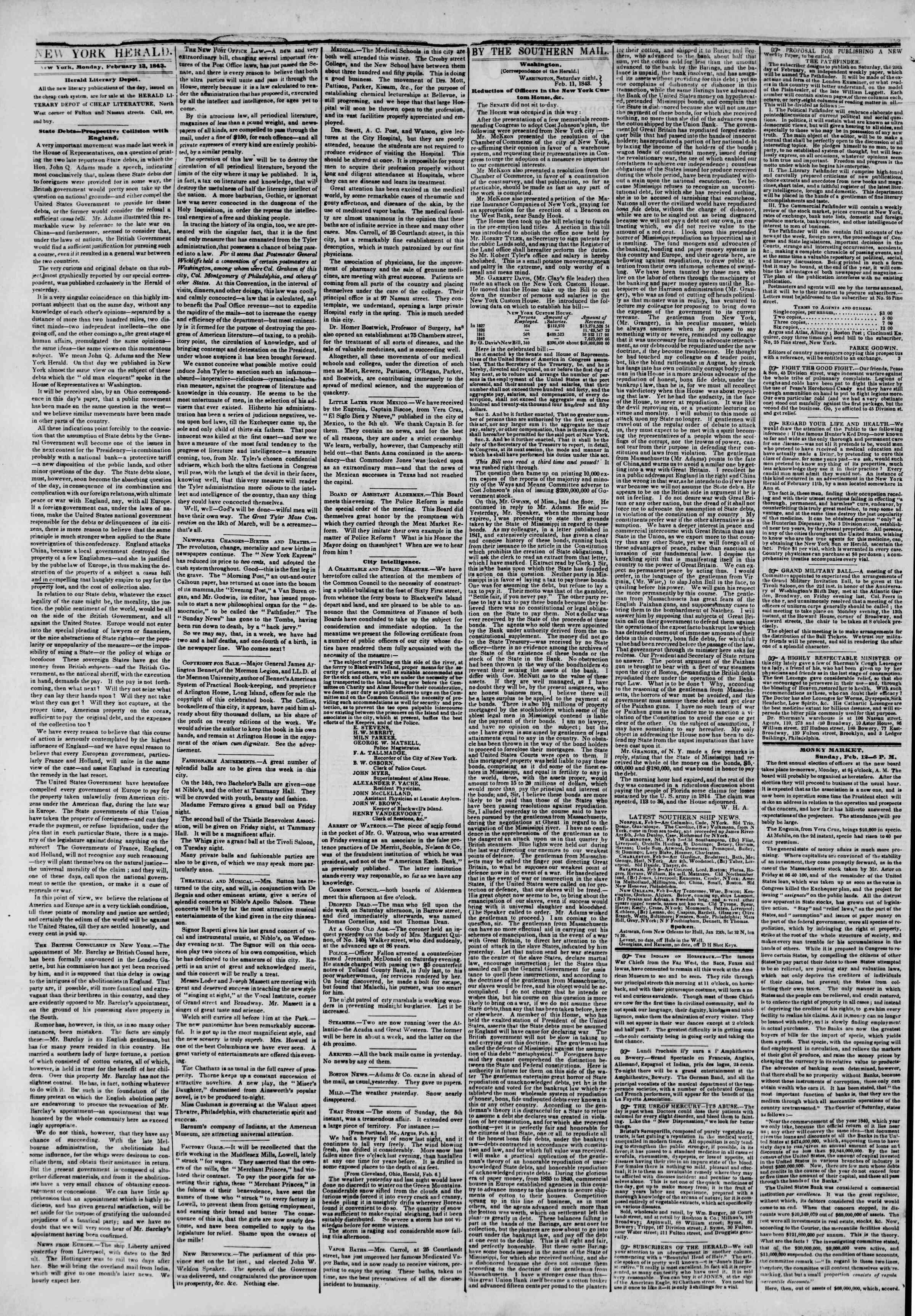 February 13, 1843 Tarihli The New York Herald Gazetesi Sayfa 2