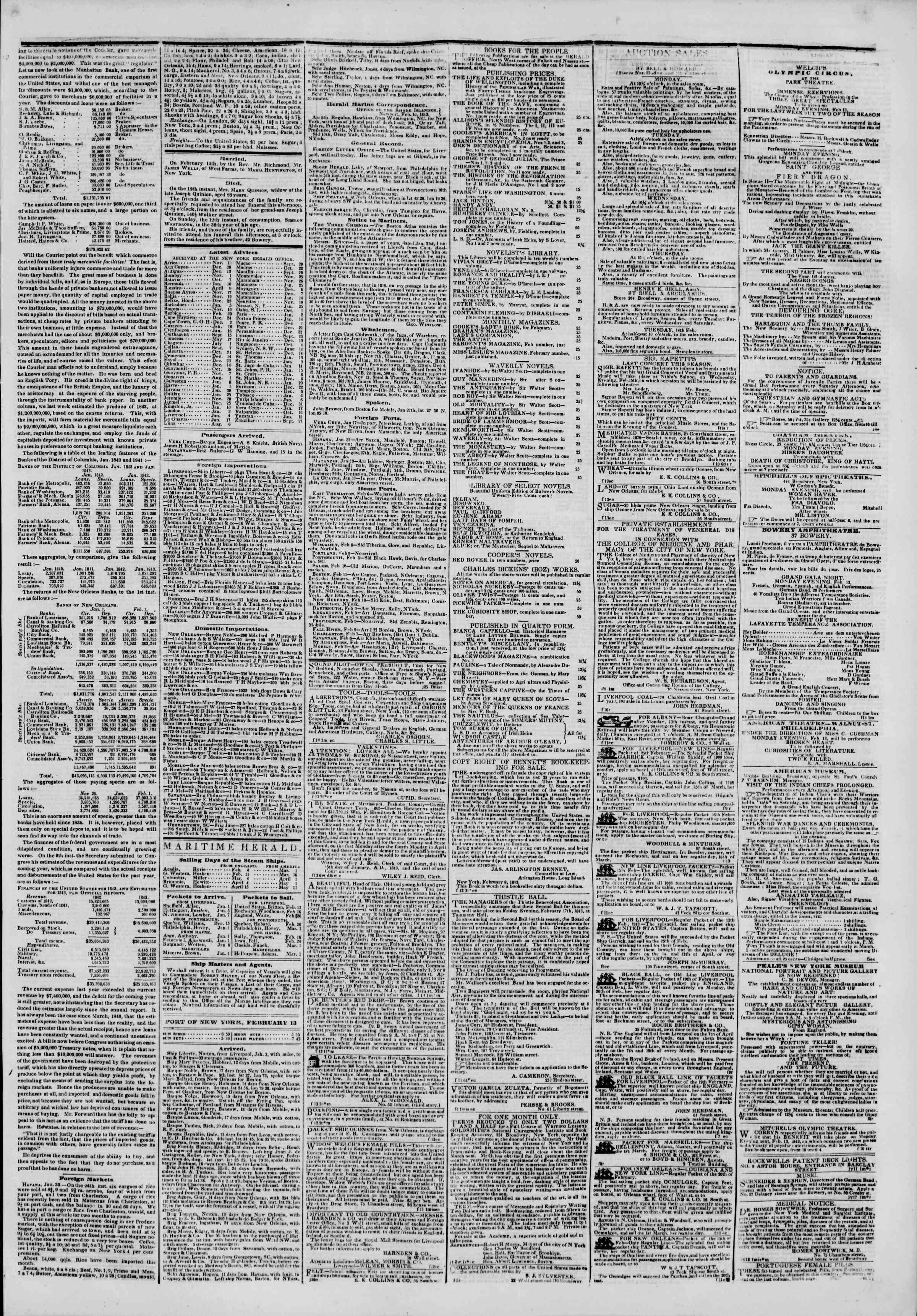 February 13, 1843 Tarihli The New York Herald Gazetesi Sayfa 3