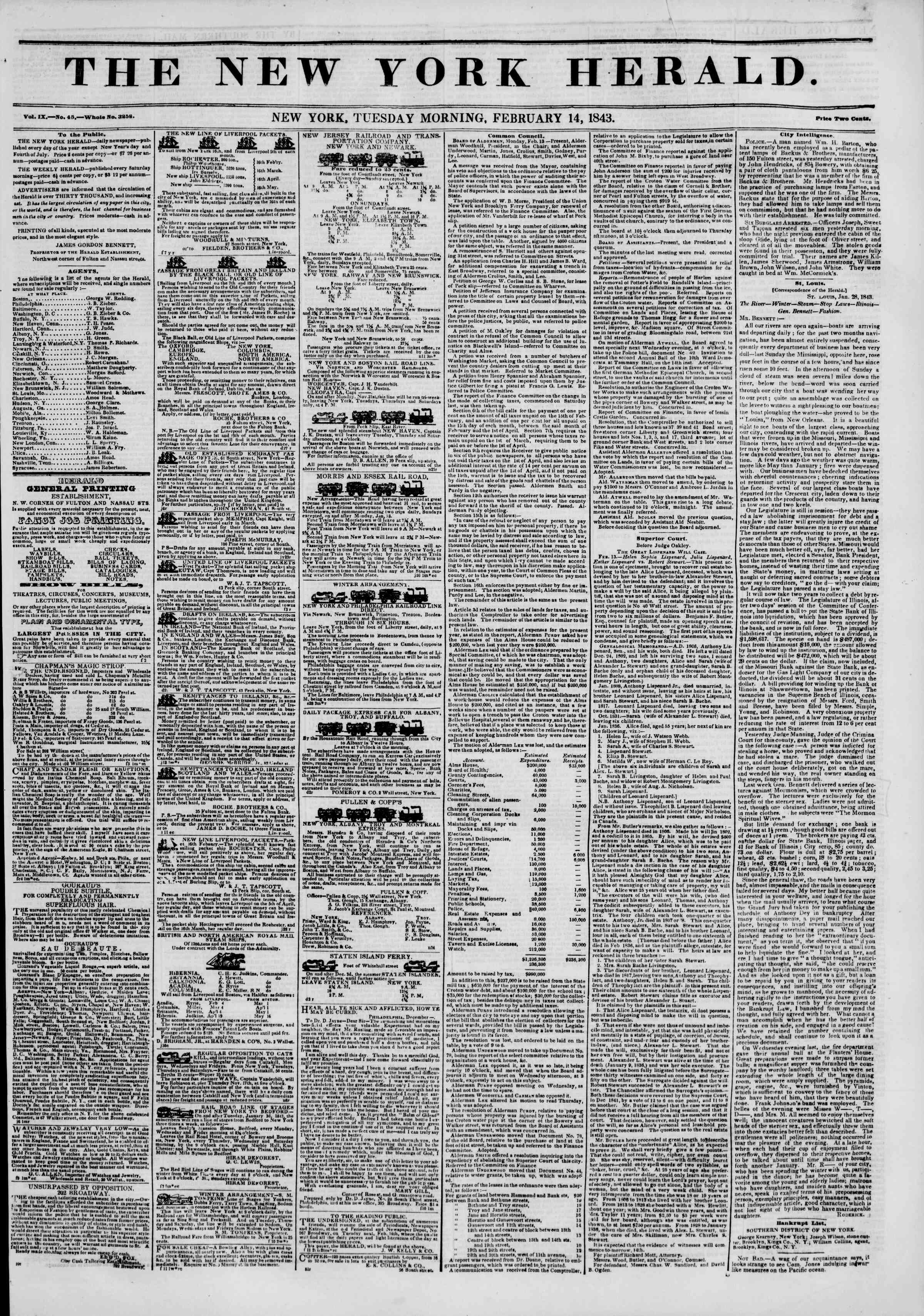 Newspaper of The New York Herald dated February 14, 1843 Page 1