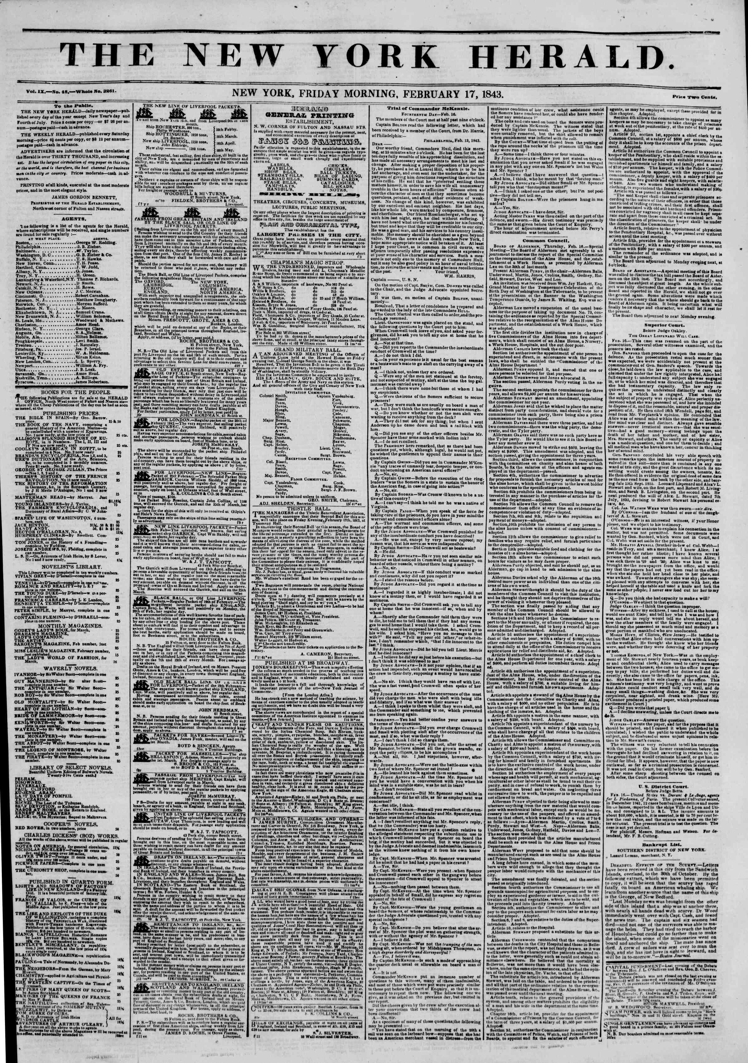 February 17, 1843 Tarihli The New York Herald Gazetesi Sayfa 1