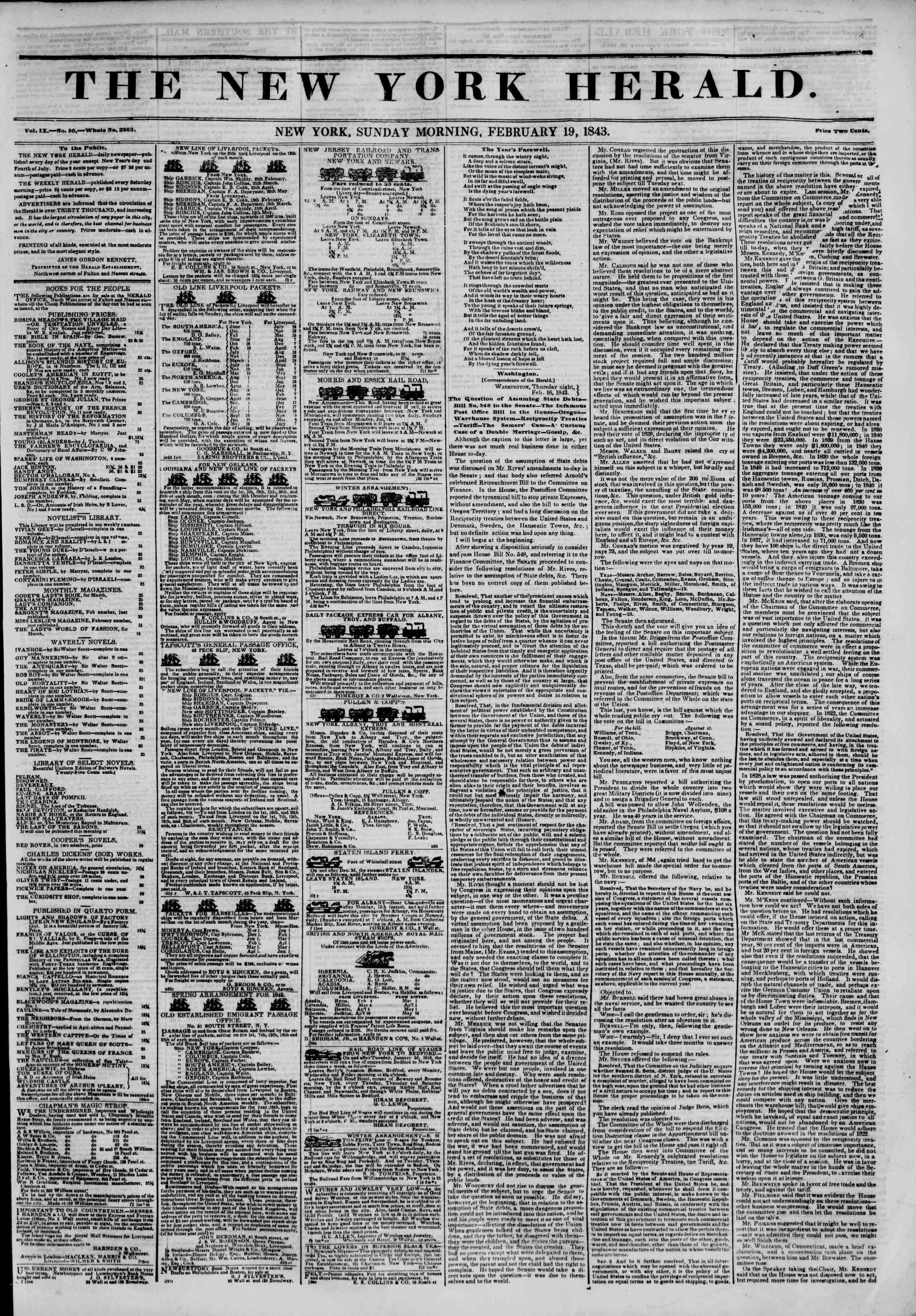 February 19, 1843 Tarihli The New York Herald Gazetesi Sayfa 1