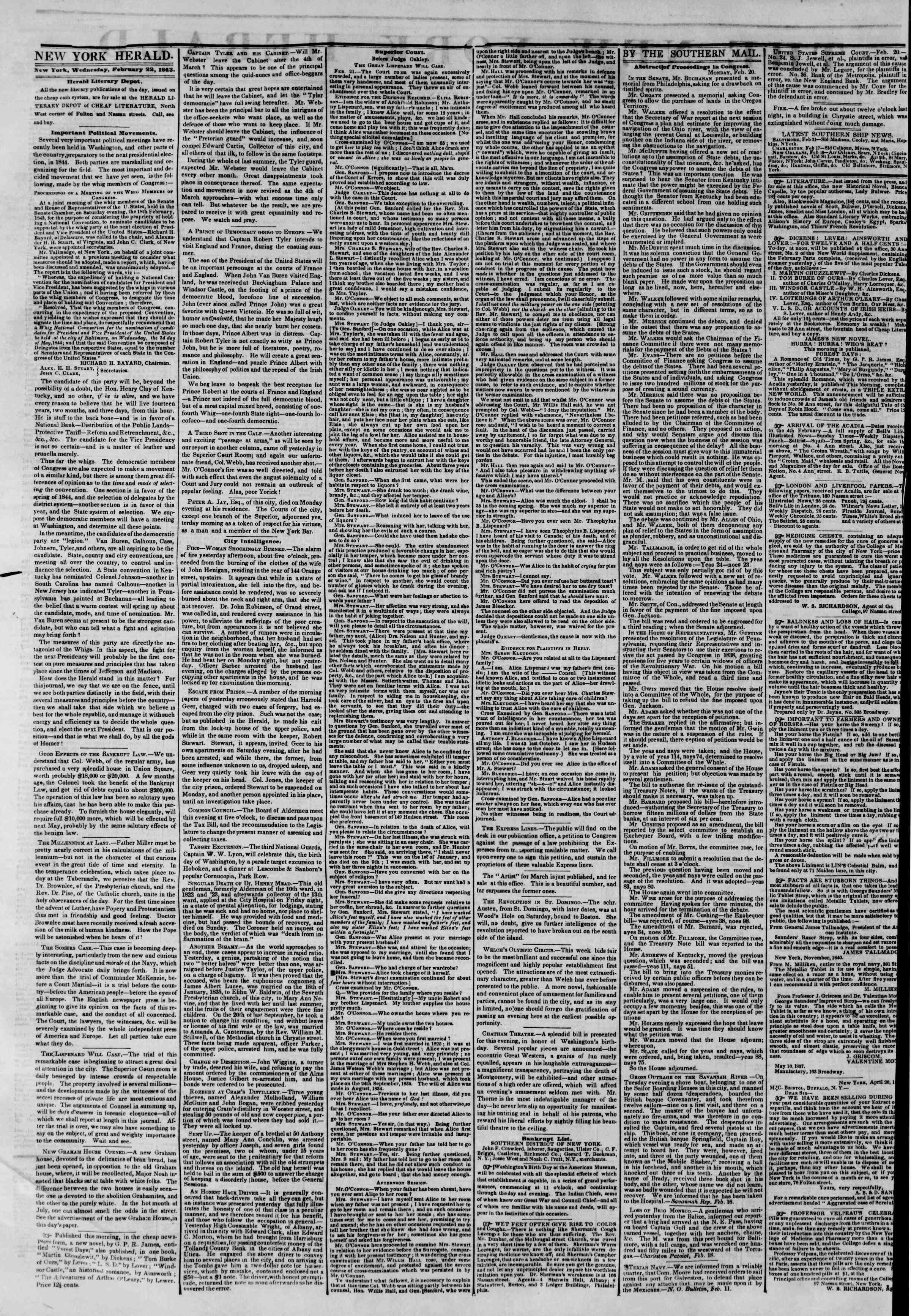 February 22, 1843 Tarihli The New York Herald Gazetesi Sayfa 2