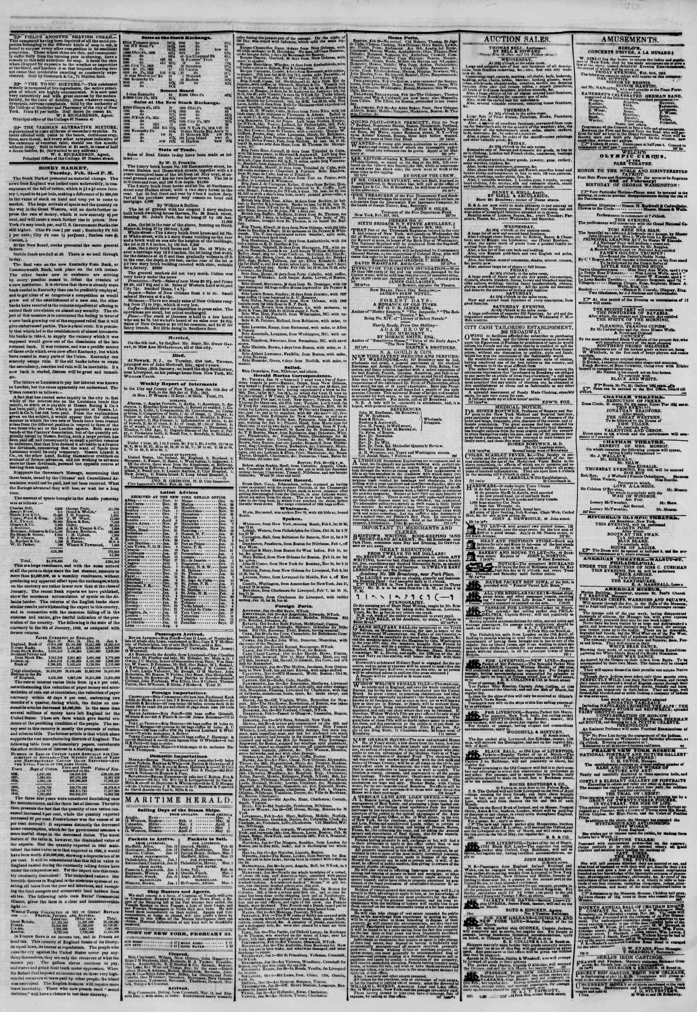 February 22, 1843 Tarihli The New York Herald Gazetesi Sayfa 3