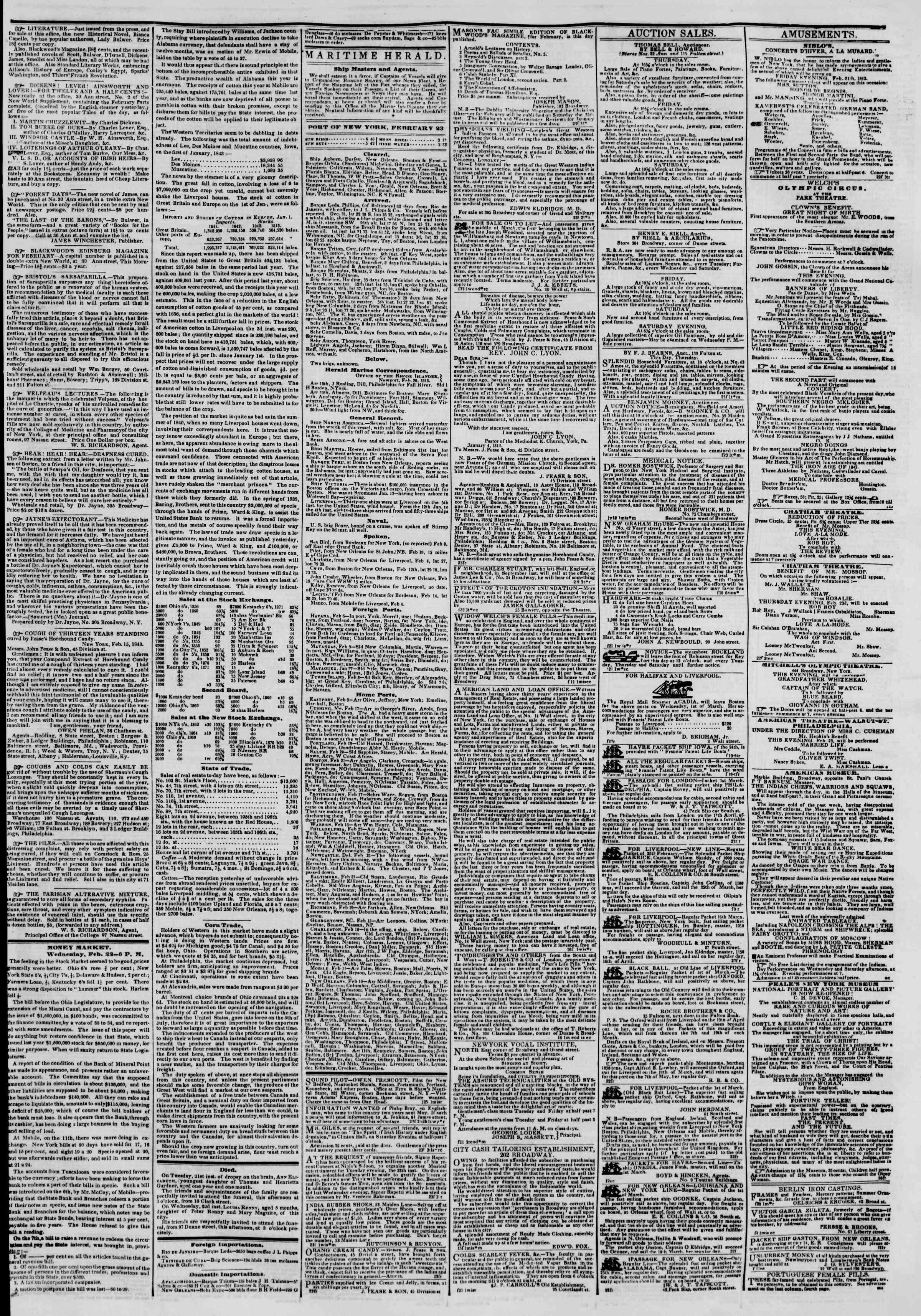 23 Şubat 1843 Tarihli The New York Herald Gazetesi Sayfa 3