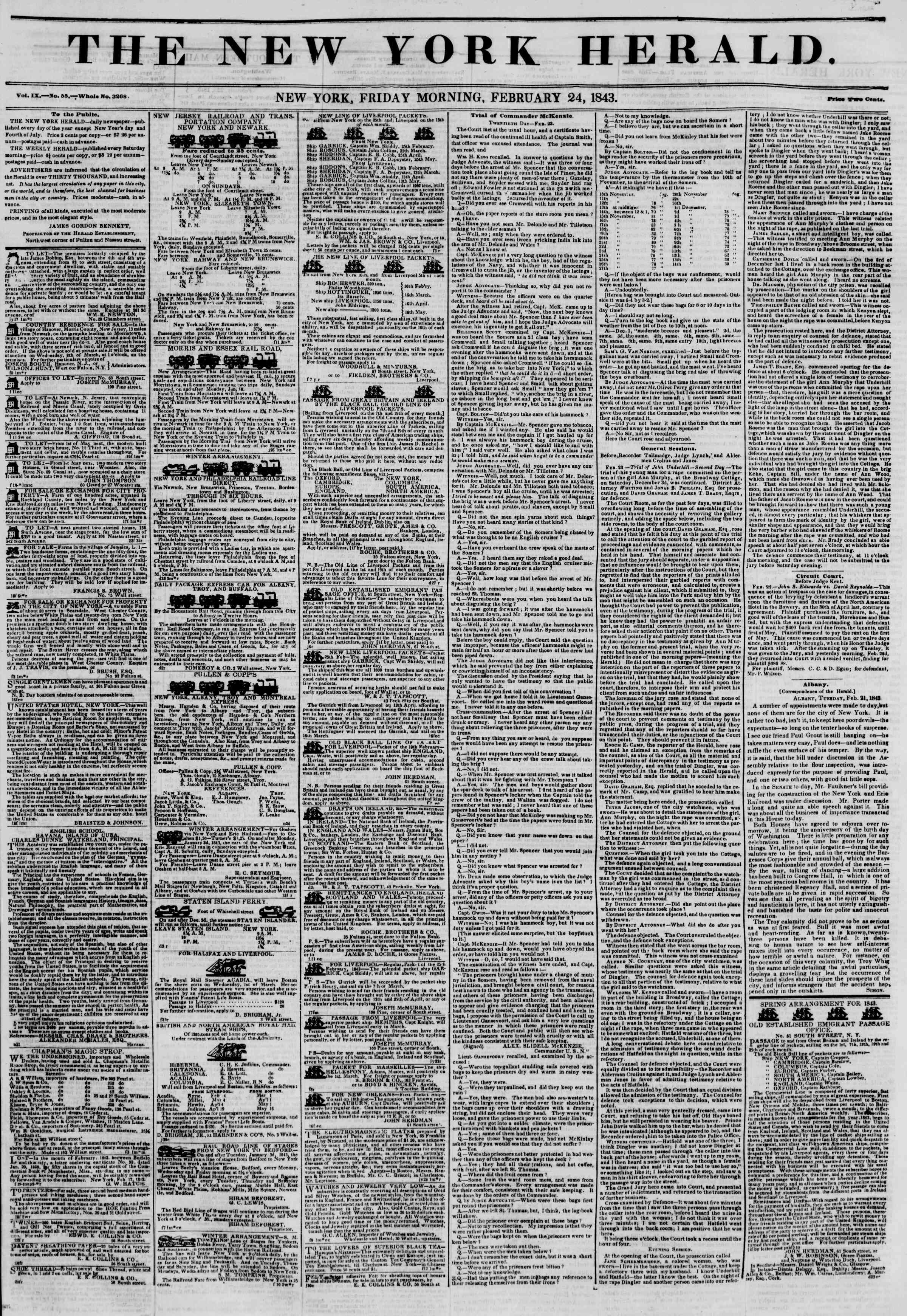 Newspaper of The New York Herald dated February 24, 1843 Page 1