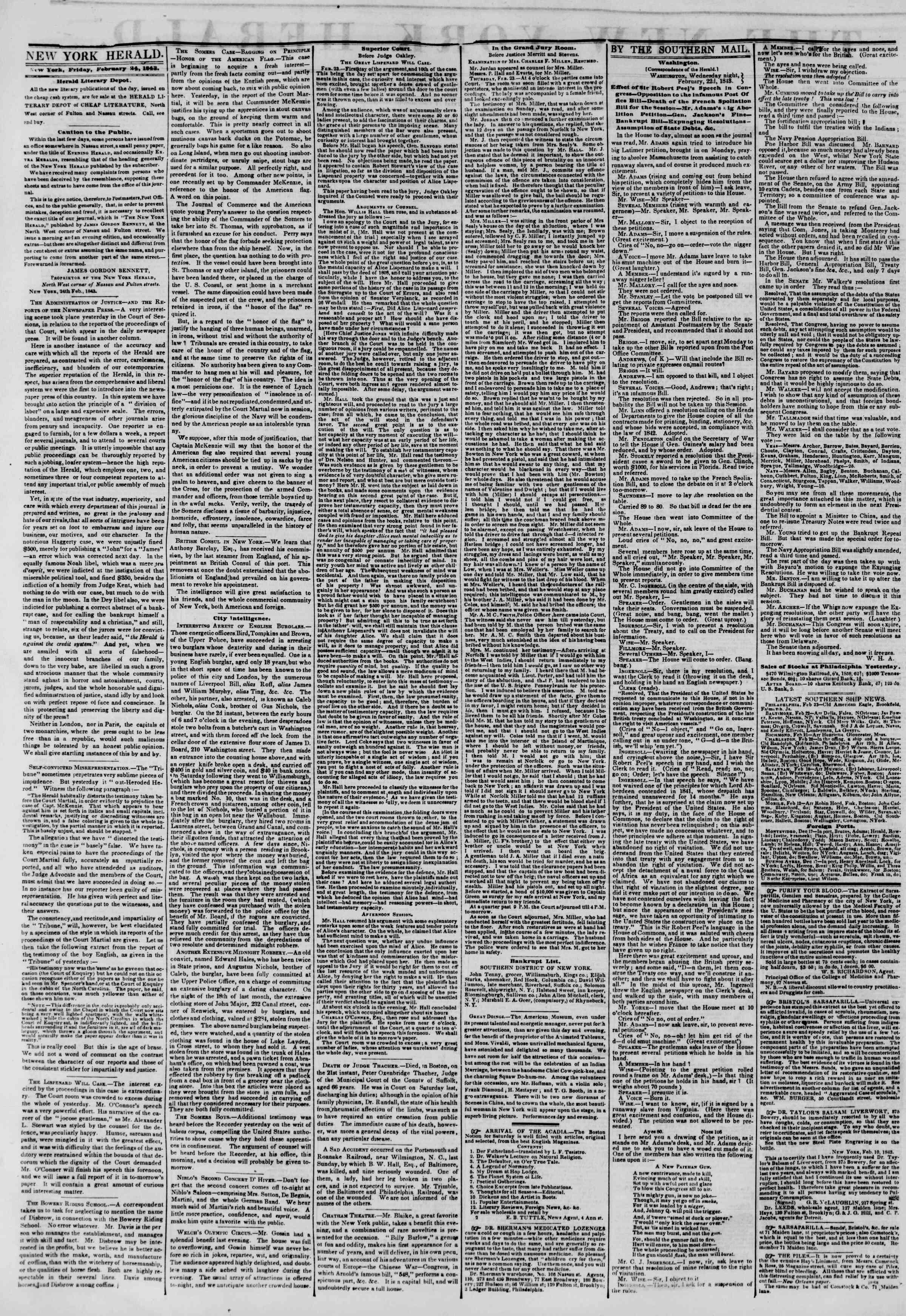 24 Şubat 1843 Tarihli The New York Herald Gazetesi Sayfa 2