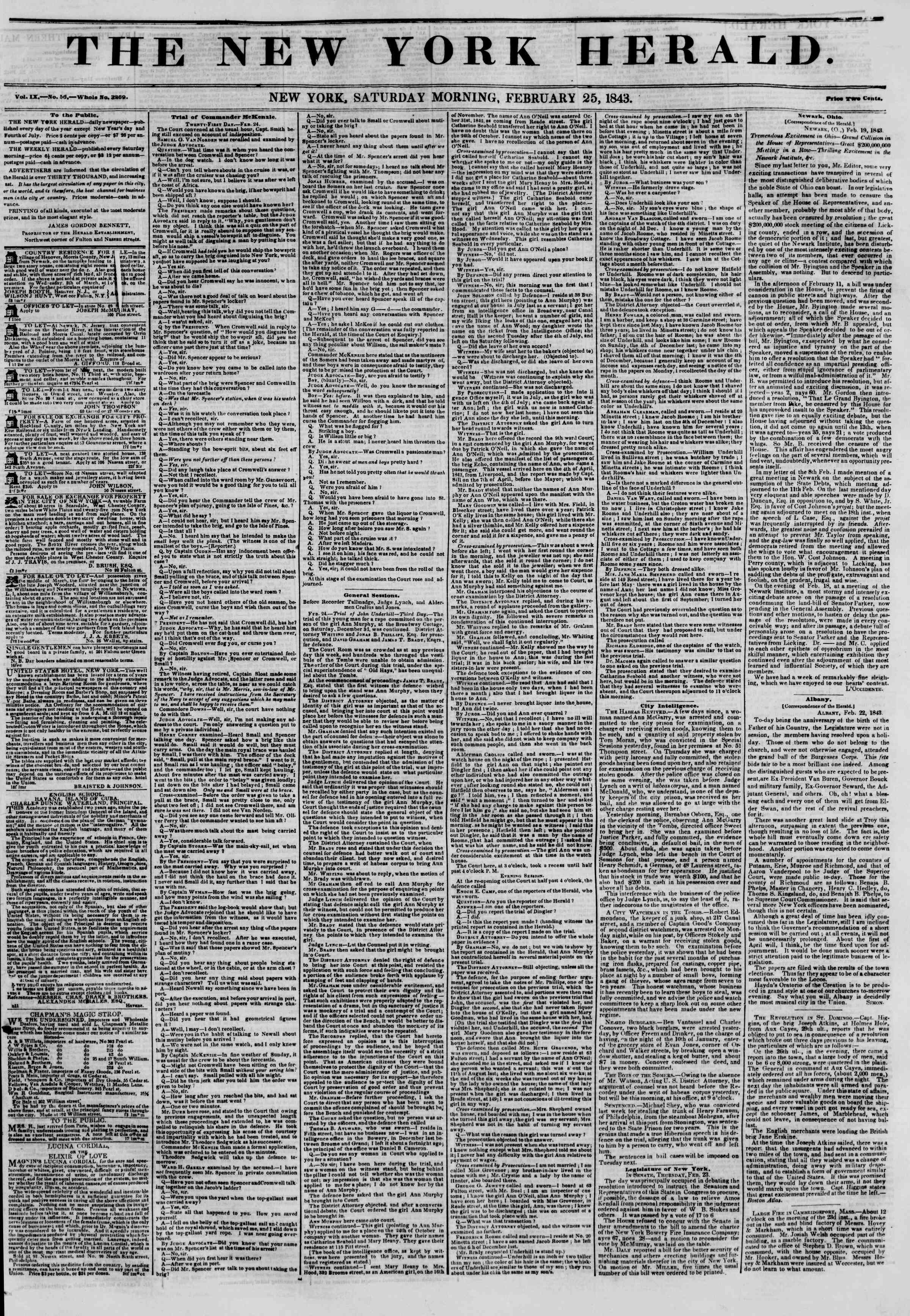 February 25, 1843 Tarihli The New York Herald Gazetesi Sayfa 1