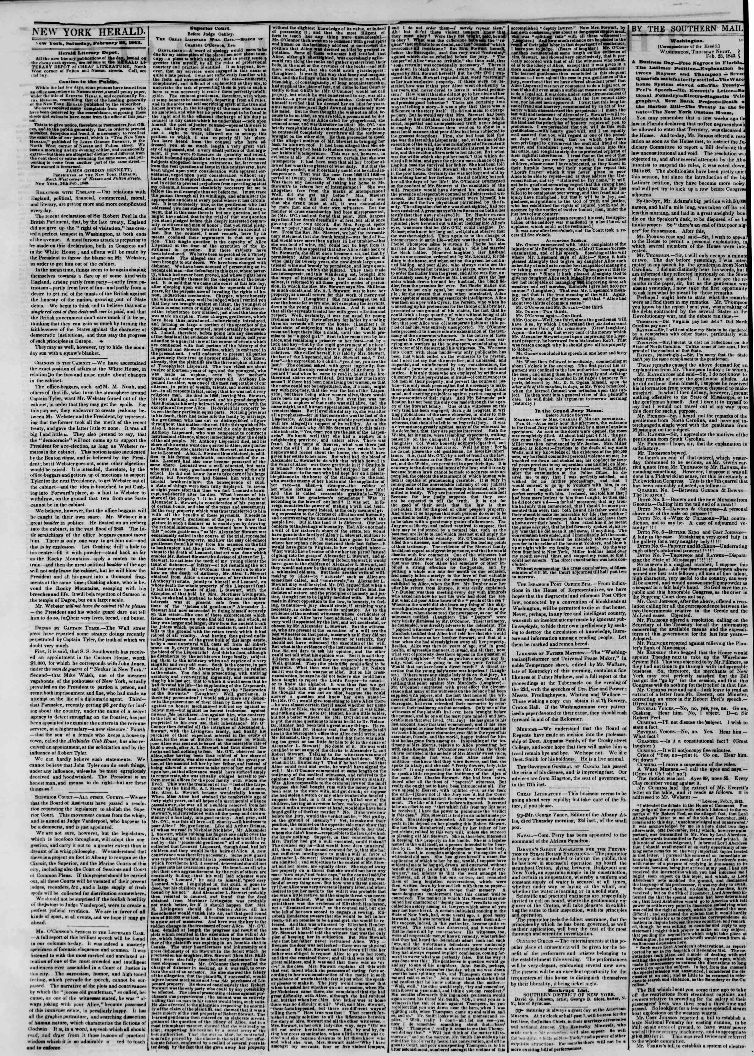 Newspaper of The New York Herald dated February 25, 1843 Page 2