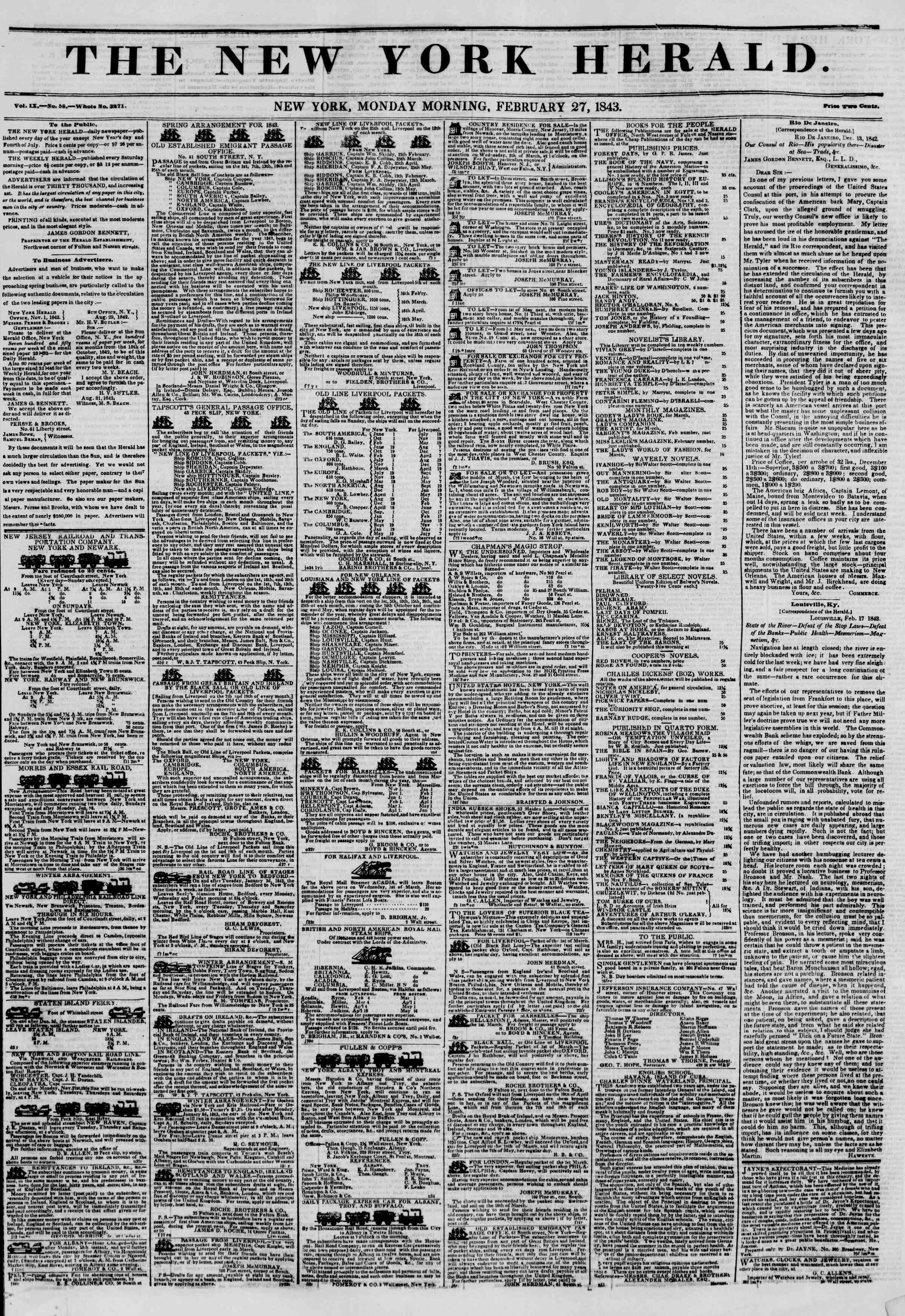 27 Şubat 1843 tarihli The New York Herald Gazetesi Sayfa 1
