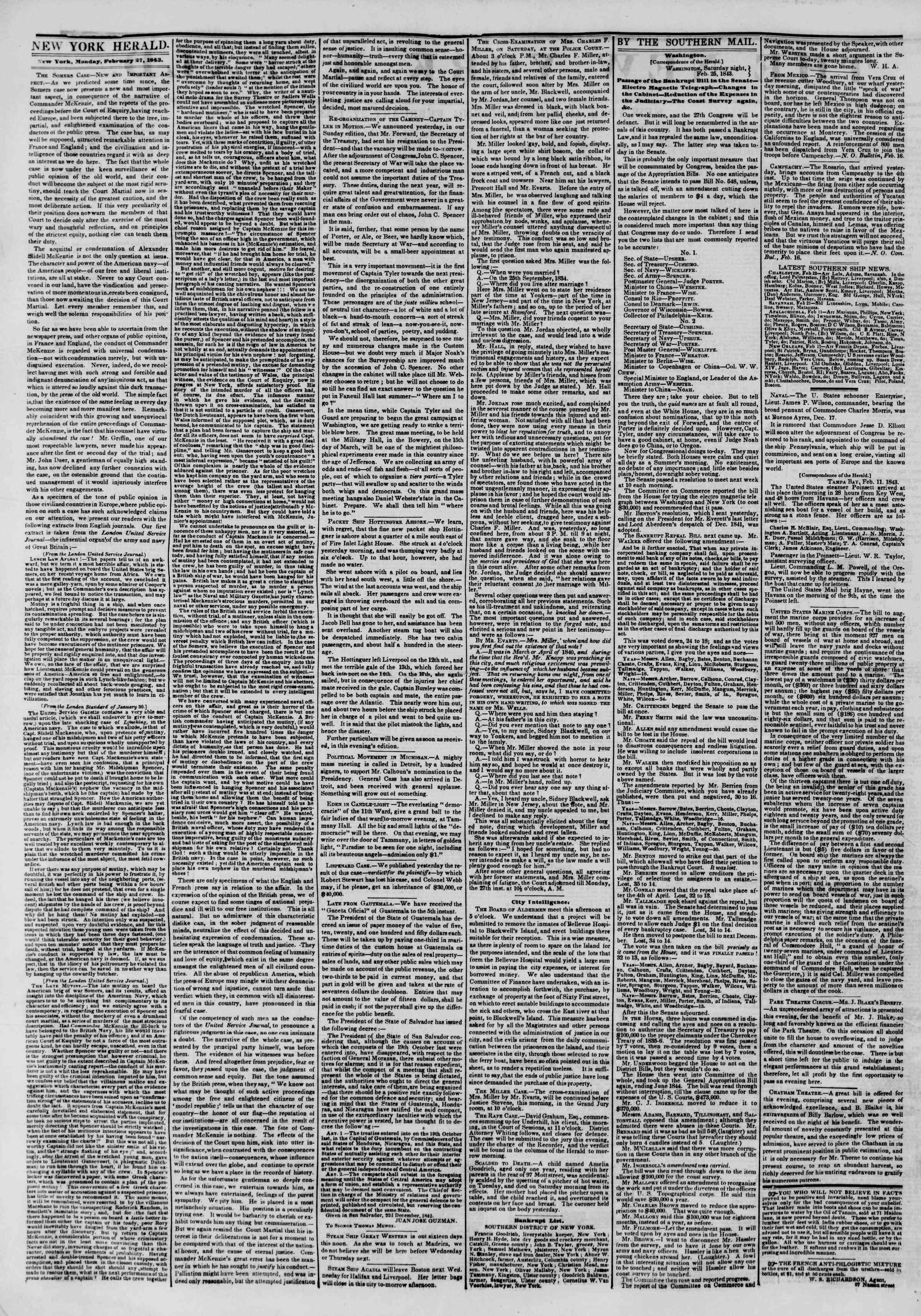 February 27, 1843 Tarihli The New York Herald Gazetesi Sayfa 2