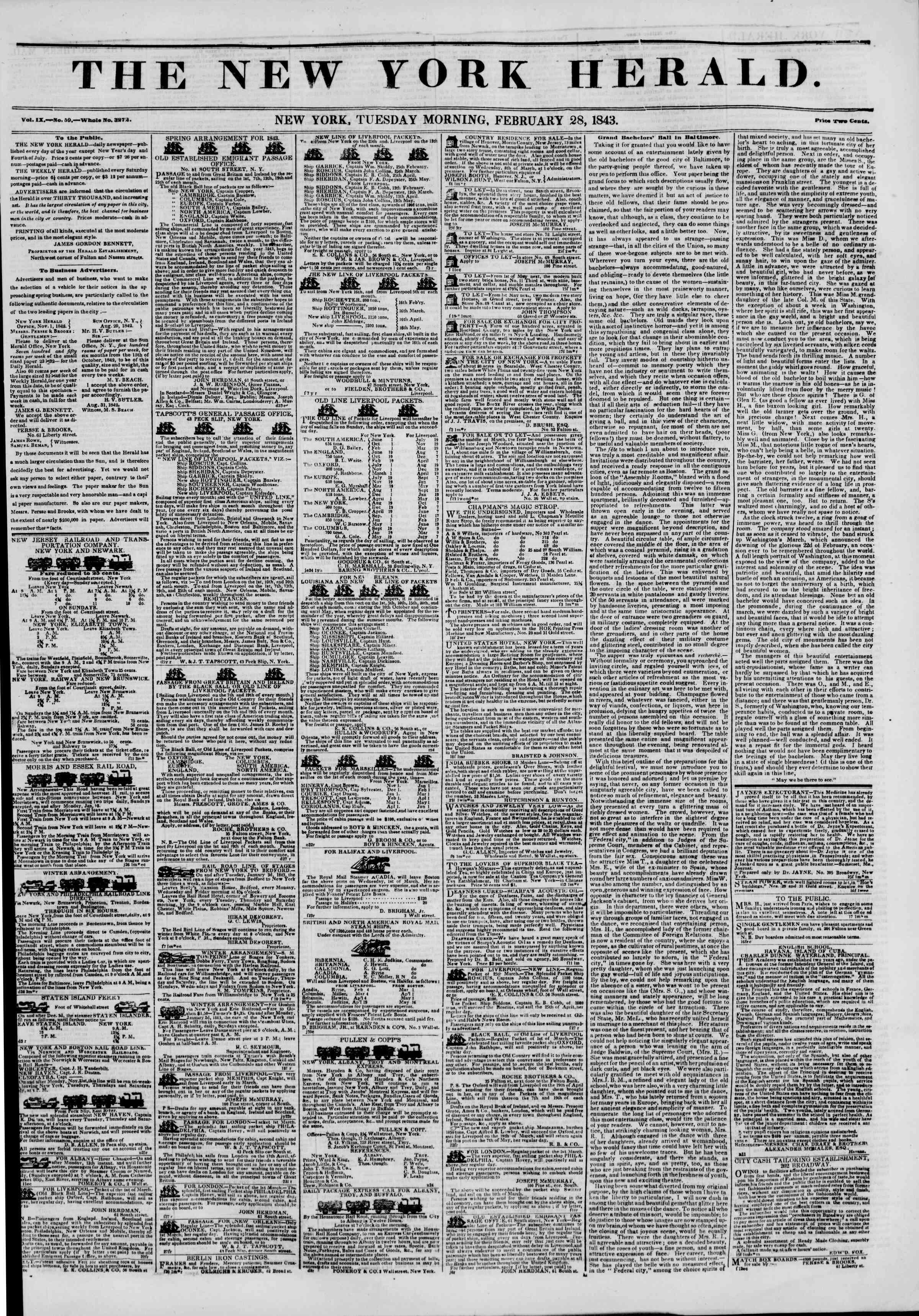February 28, 1843 Tarihli The New York Herald Gazetesi Sayfa 1