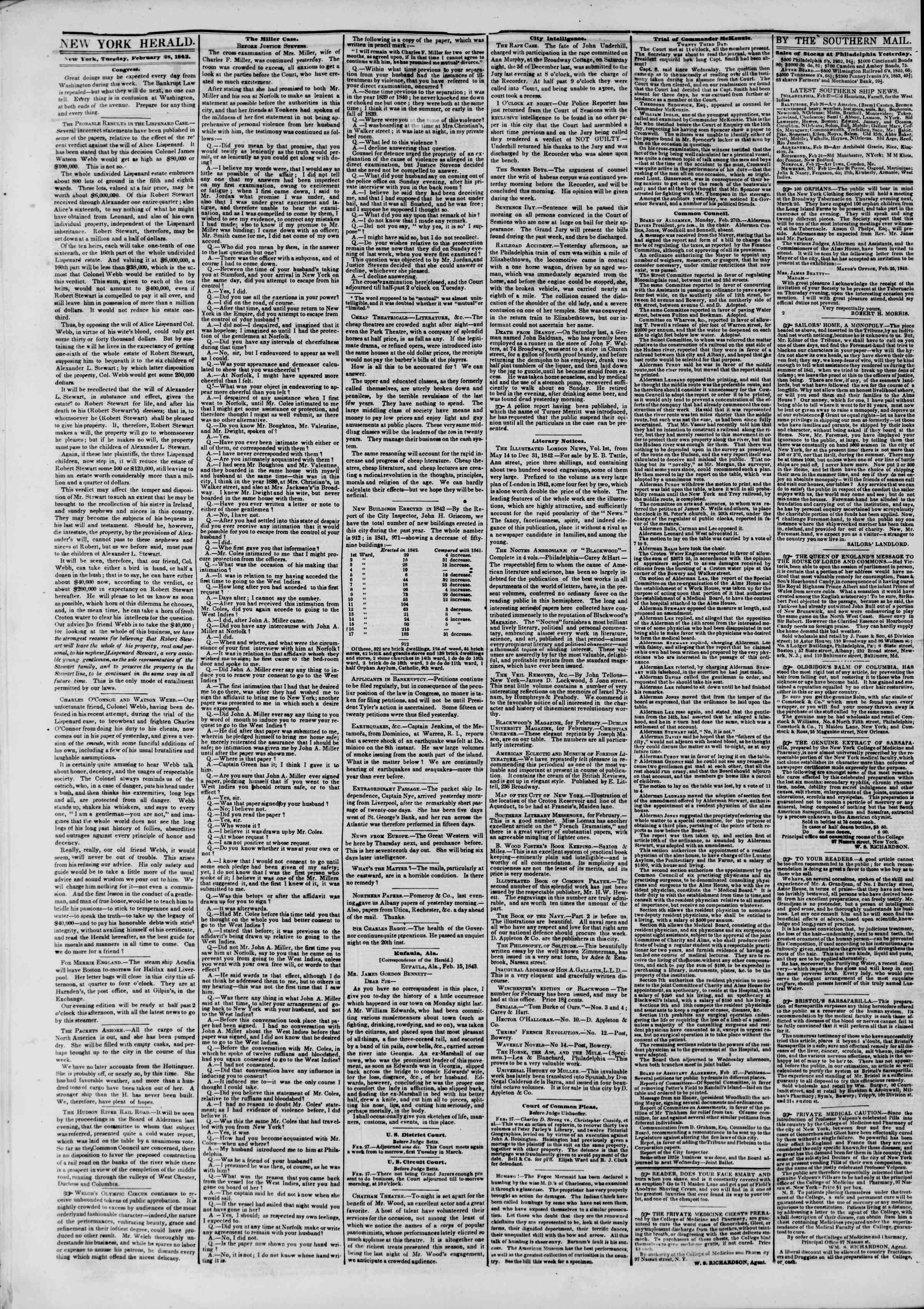 Newspaper of The New York Herald dated February 28, 1843 Page 2