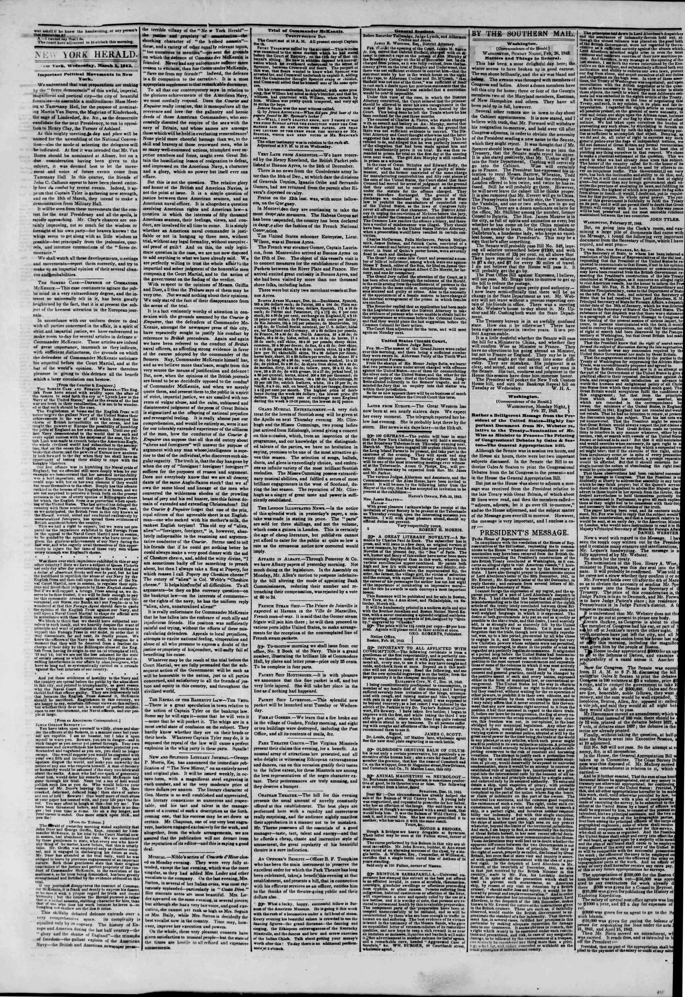 March 1, 1843 Tarihli The New York Herald Gazetesi Sayfa 2