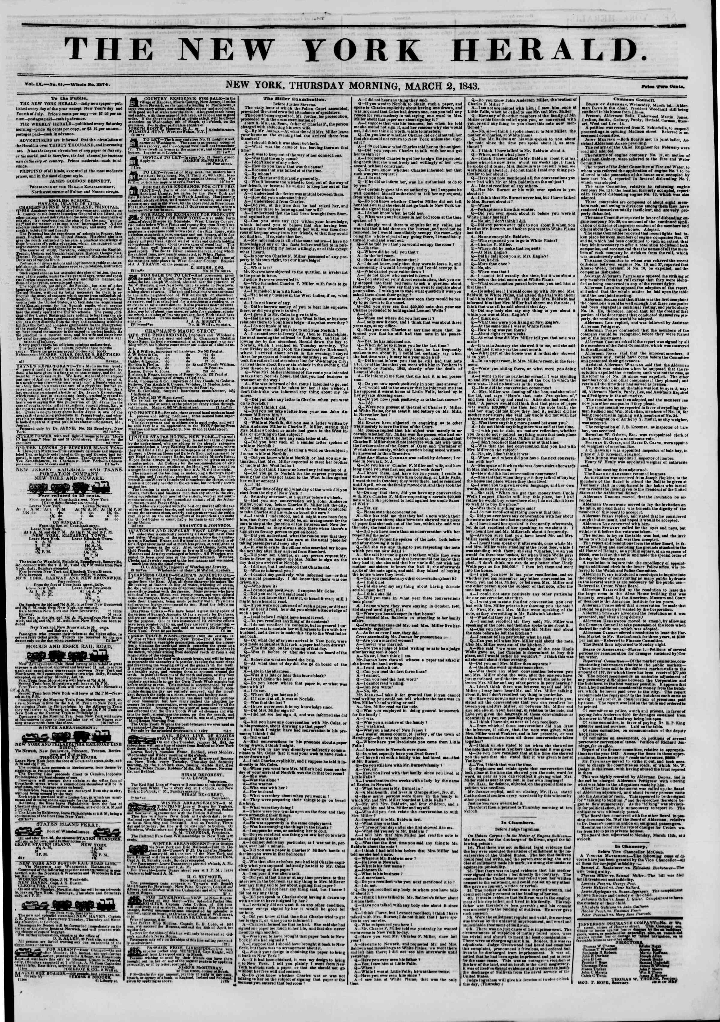 March 2, 1843 Tarihli The New York Herald Gazetesi Sayfa 1
