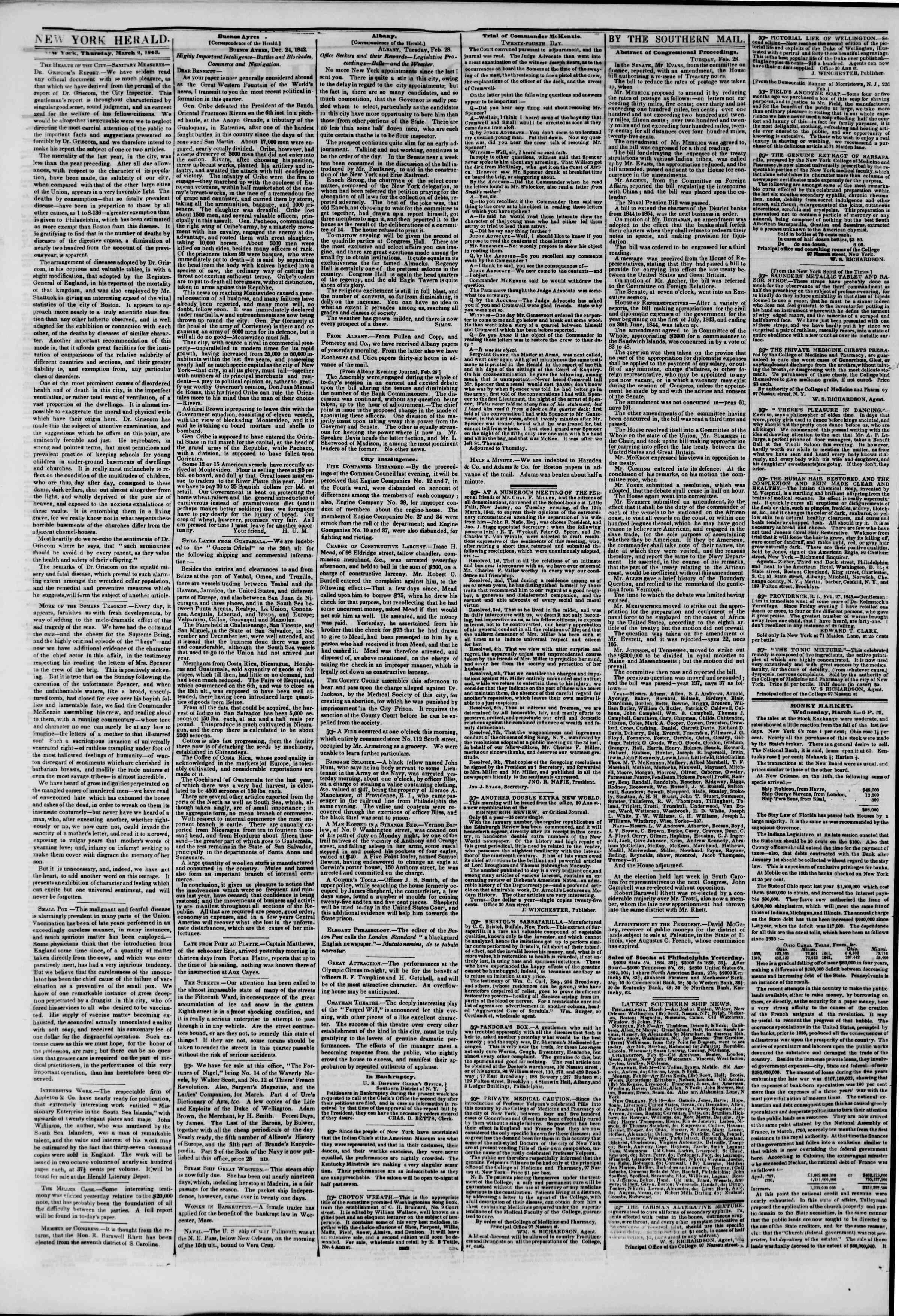 March 2, 1843 Tarihli The New York Herald Gazetesi Sayfa 2