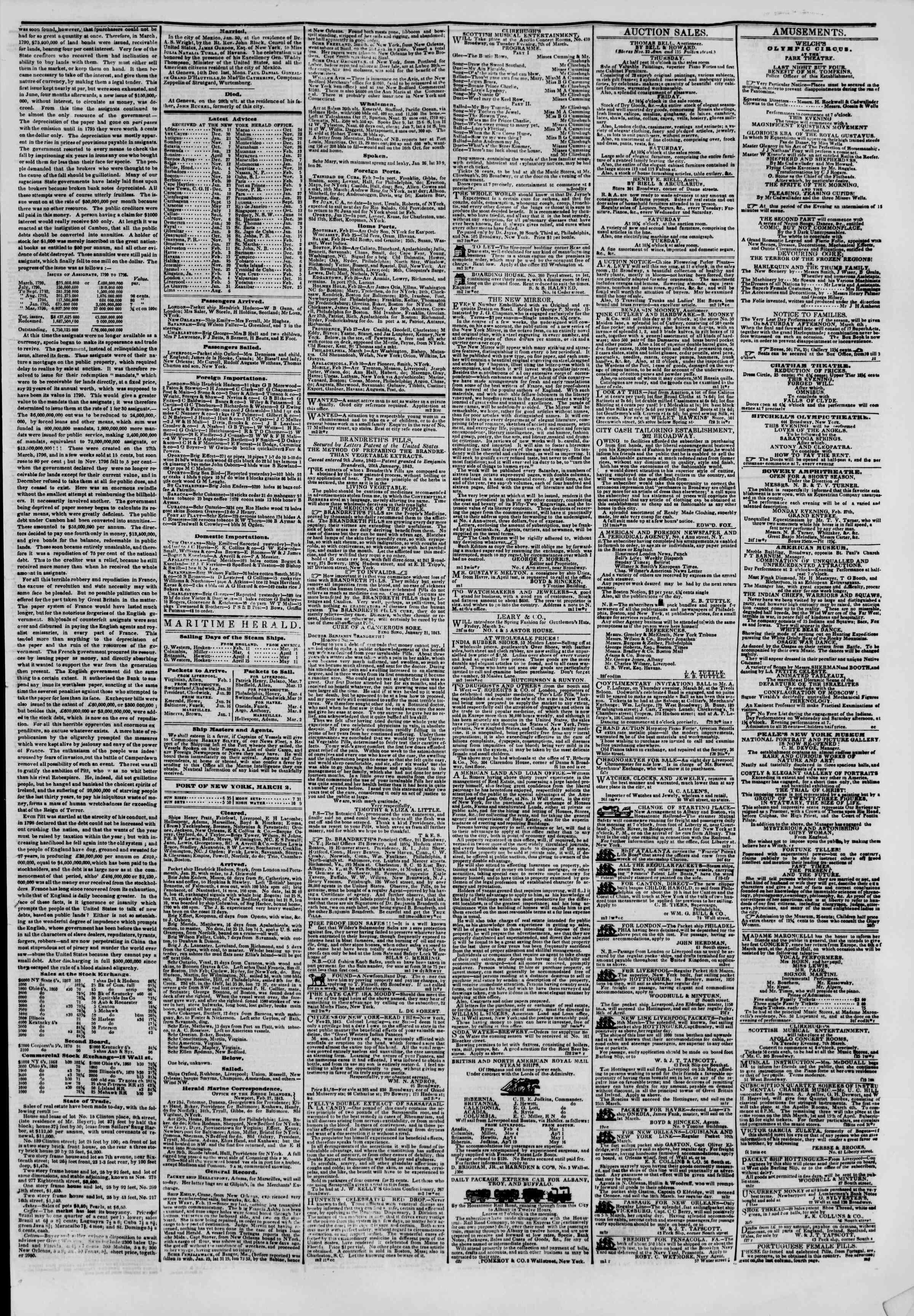 March 2, 1843 Tarihli The New York Herald Gazetesi Sayfa 3