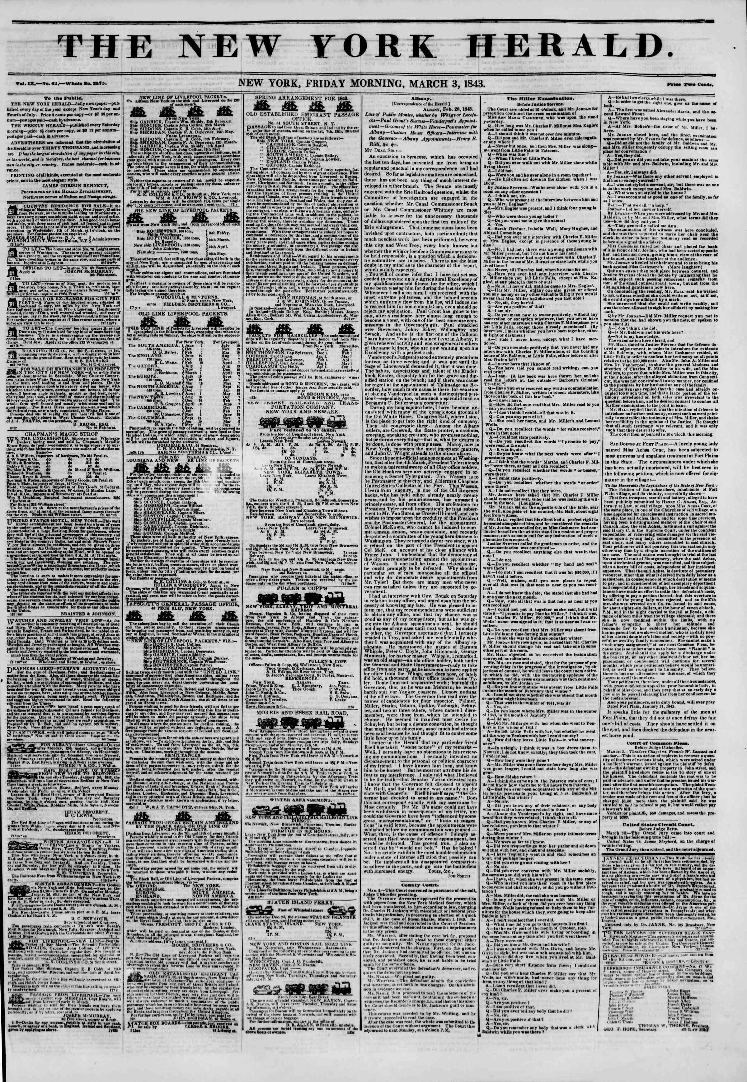 March 3, 1843 Tarihli The New York Herald Gazetesi Sayfa 1