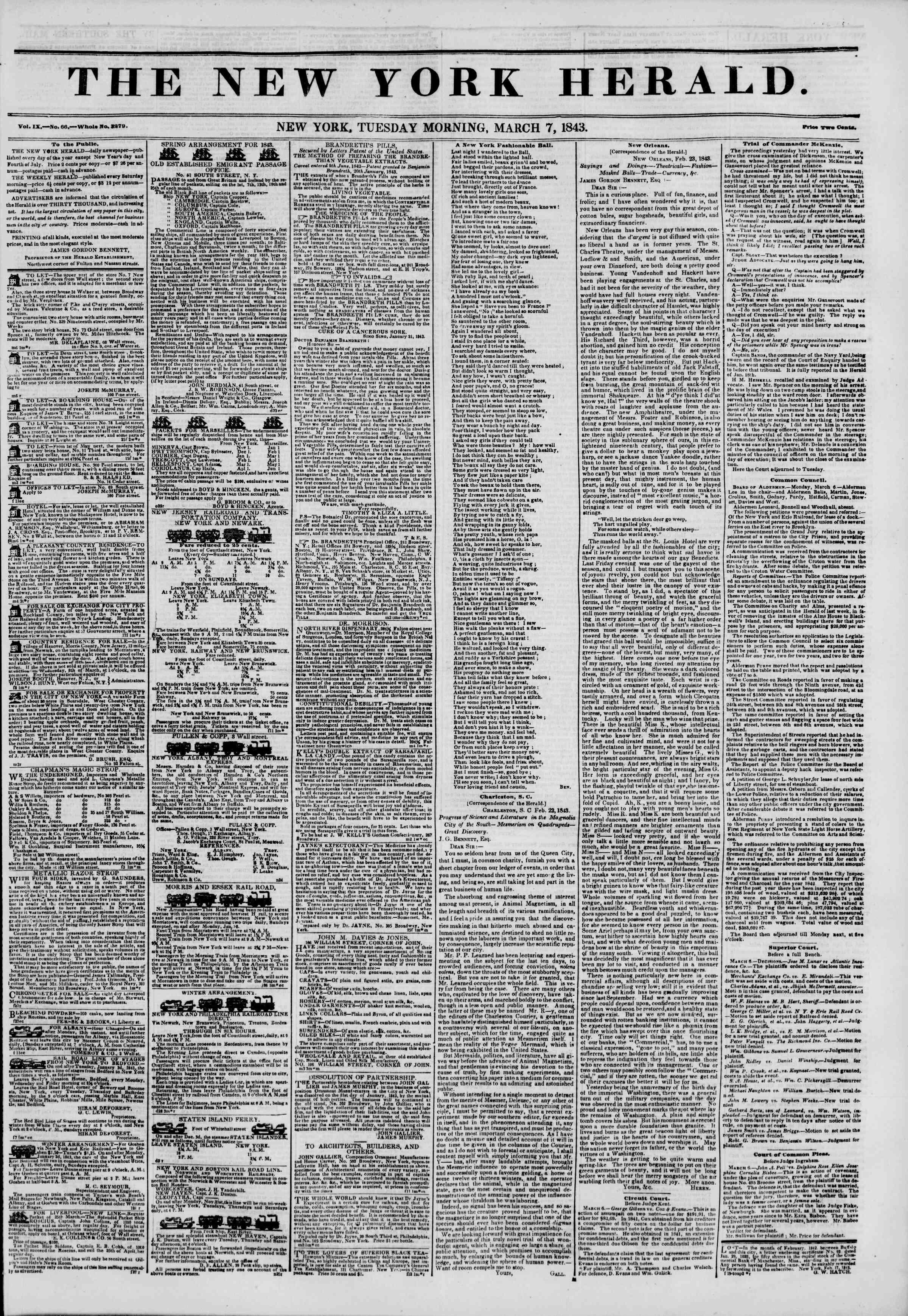 March 7, 1843 Tarihli The New York Herald Gazetesi Sayfa 1