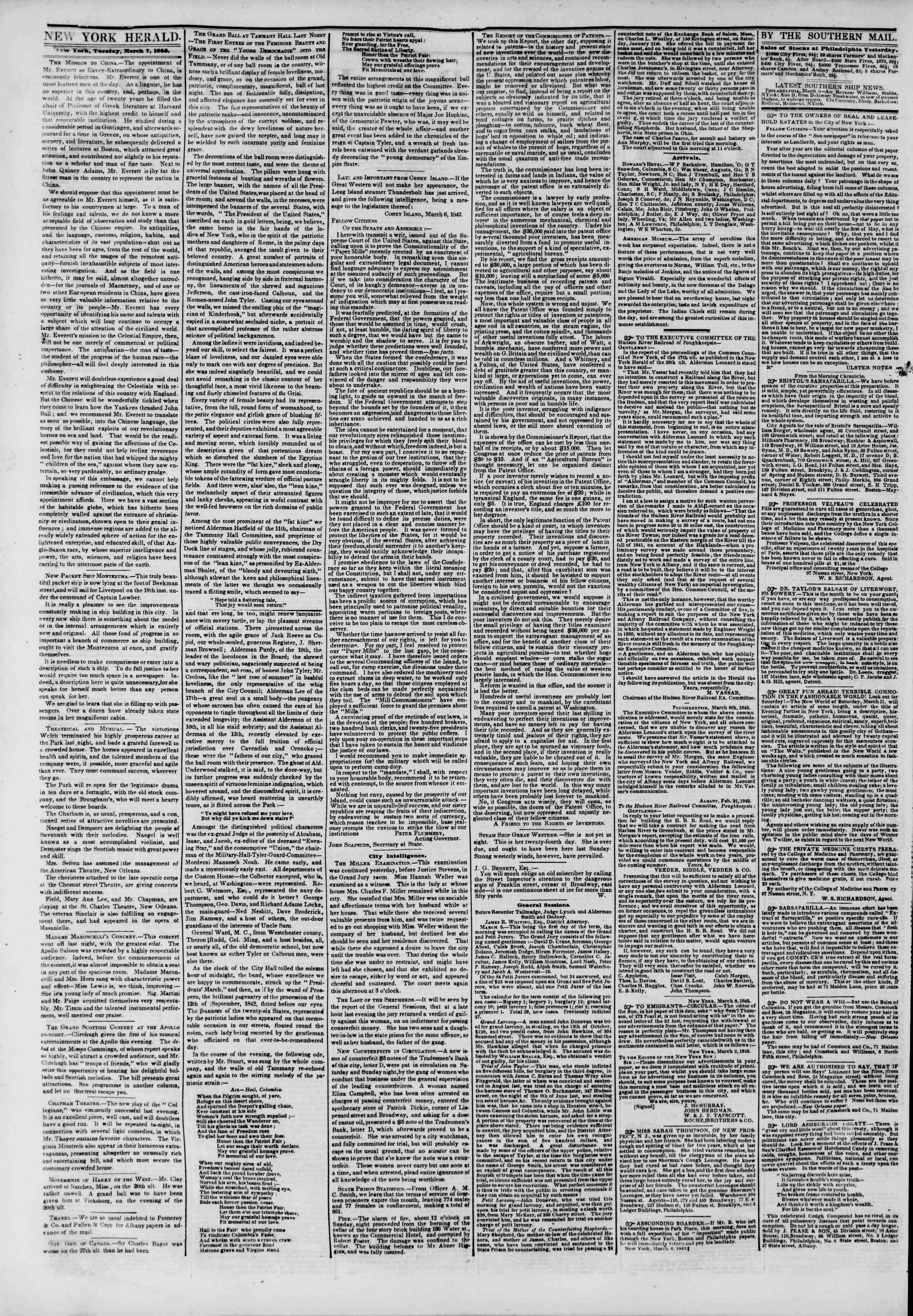 Newspaper of The New York Herald dated March 7, 1843 Page 2