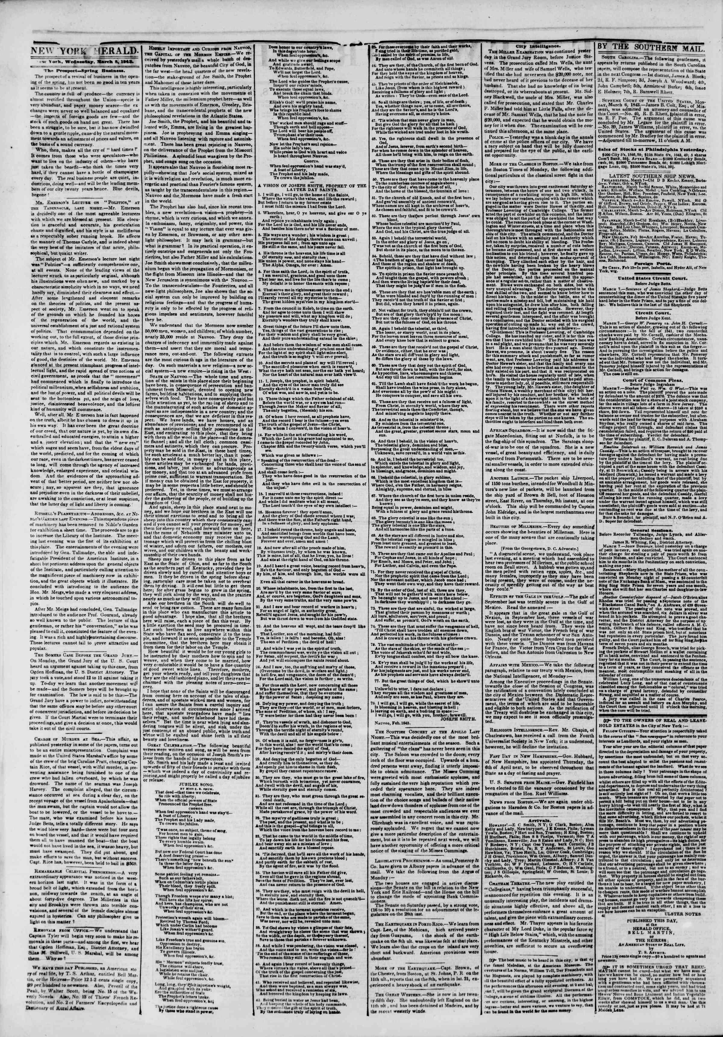March 8, 1843 Tarihli The New York Herald Gazetesi Sayfa 2