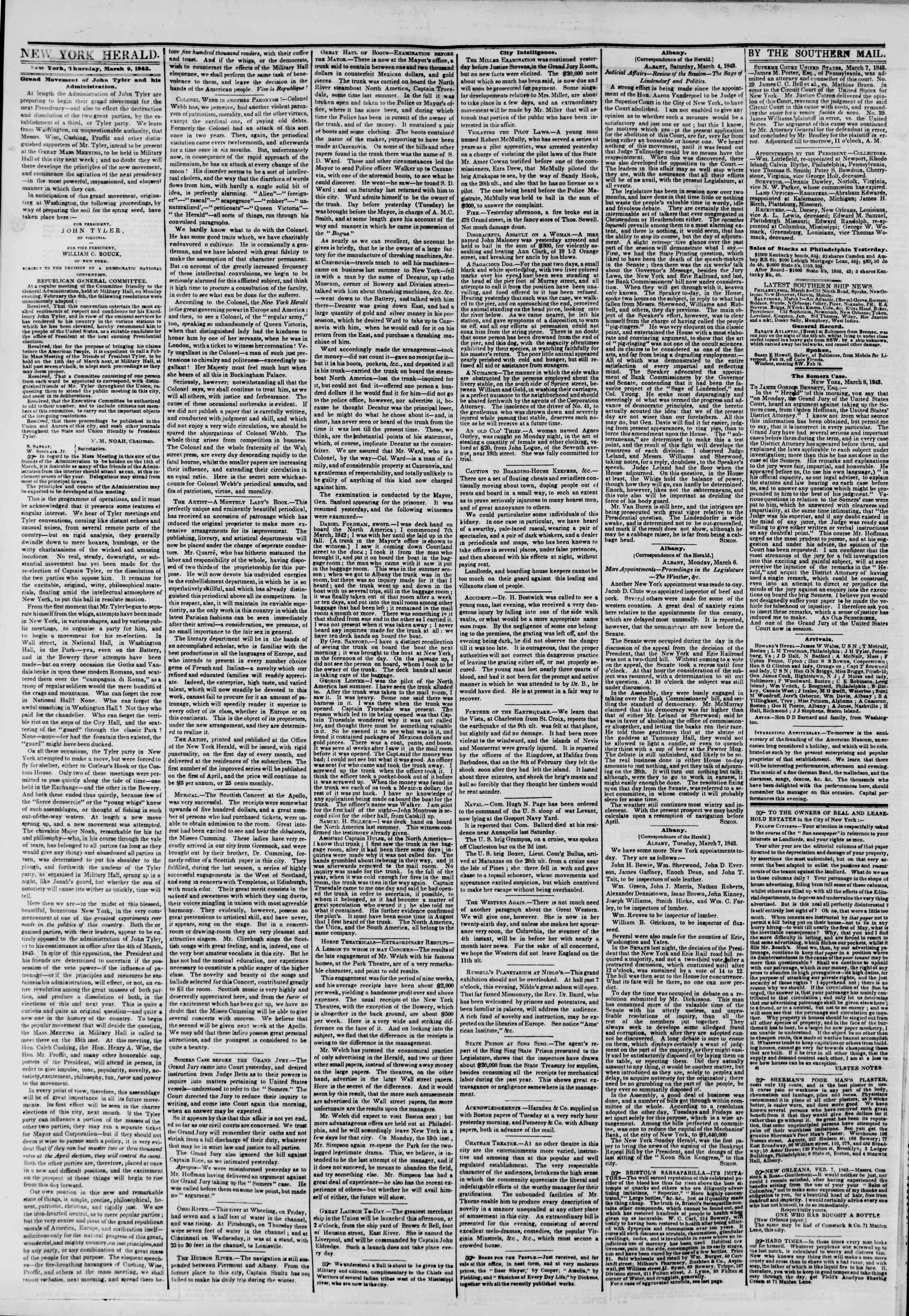 March 9, 1843 Tarihli The New York Herald Gazetesi Sayfa 2