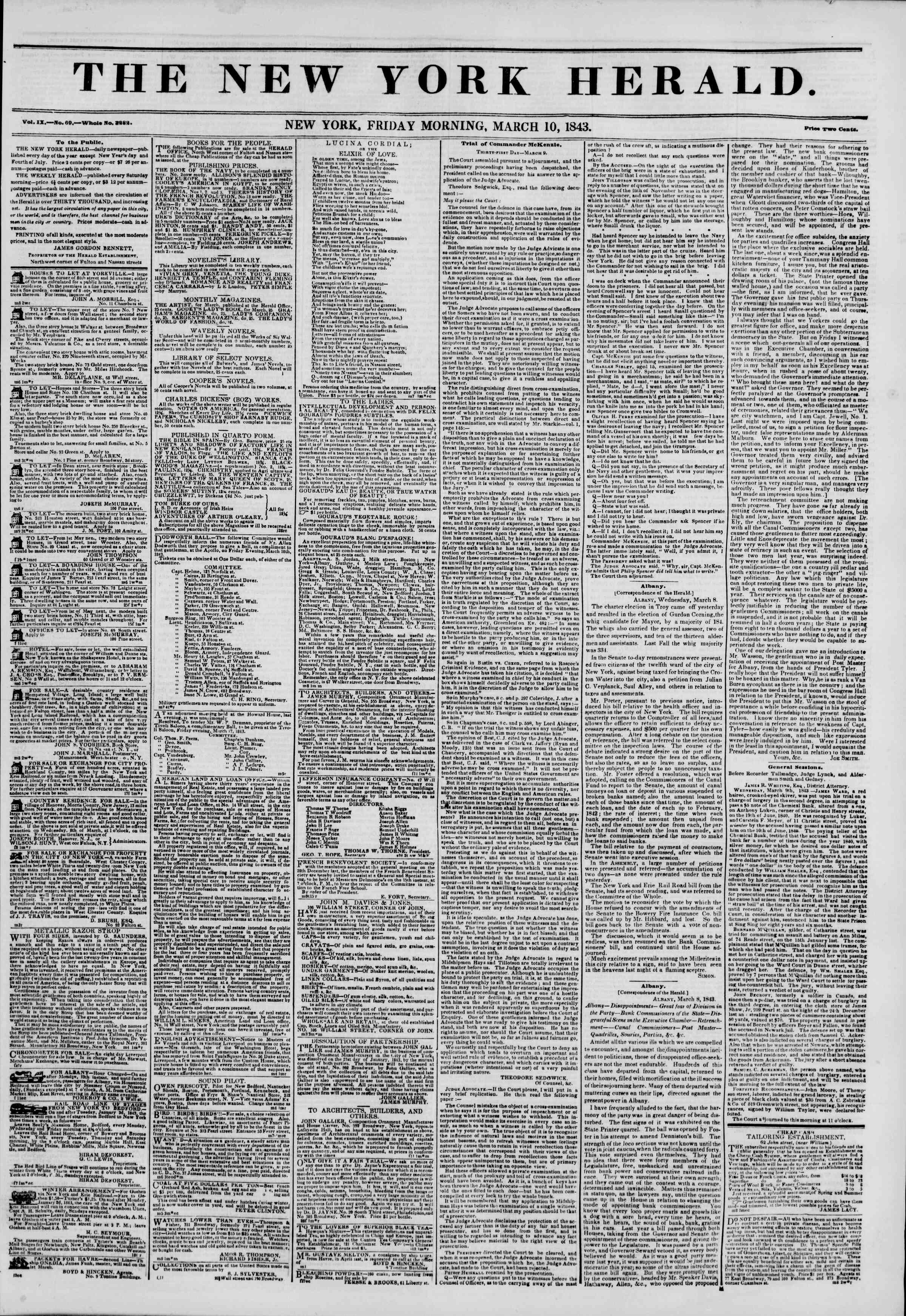 Newspaper of The New York Herald dated March 10, 1843 Page 1