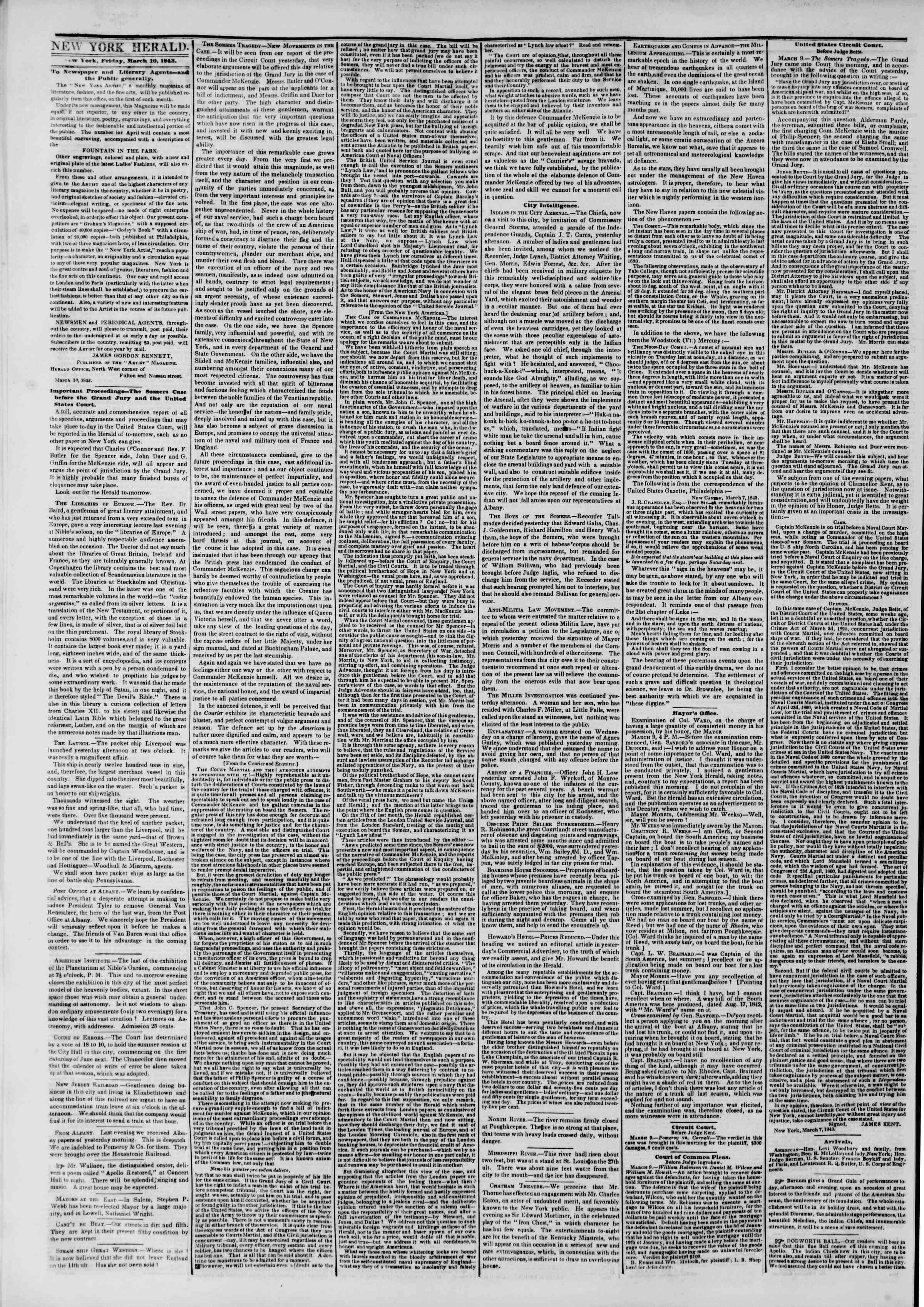 March 10, 1843 Tarihli The New York Herald Gazetesi Sayfa 2