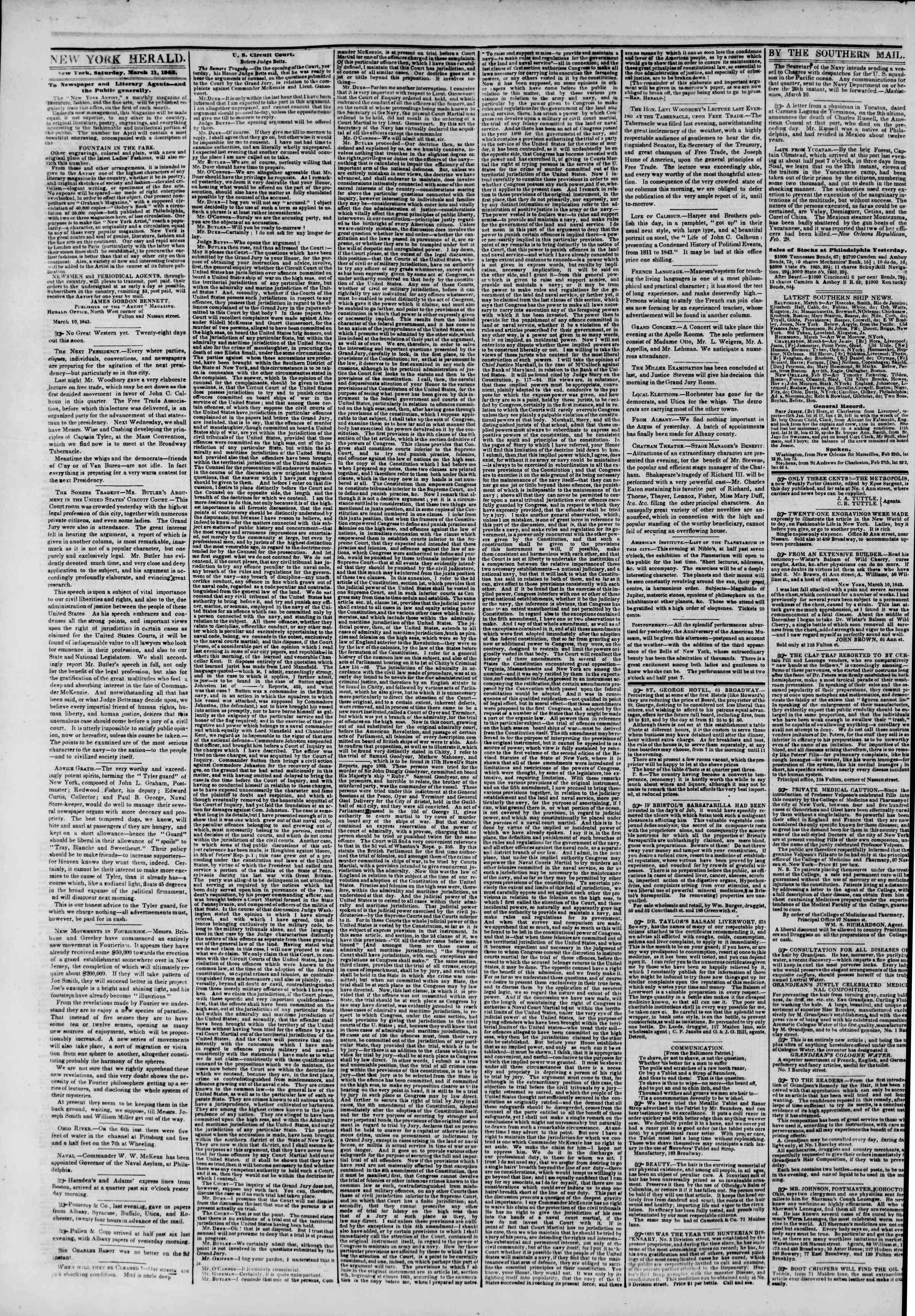 Newspaper of The New York Herald dated March 11, 1843 Page 2