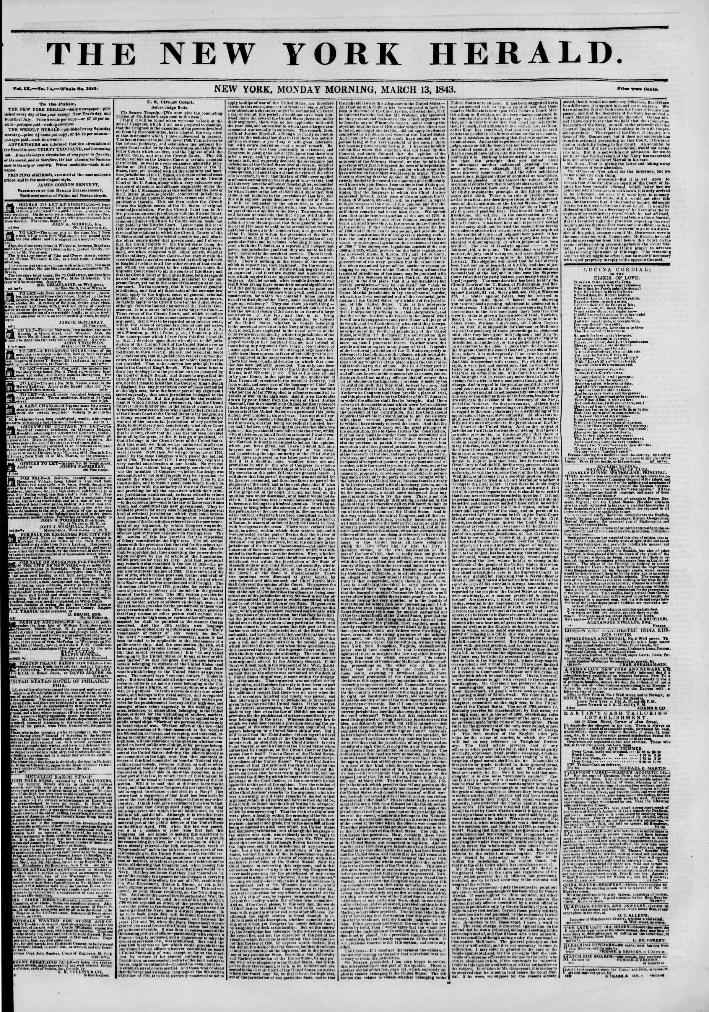 13 Mart 1843 tarihli The New York Herald Gazetesi Sayfa 1