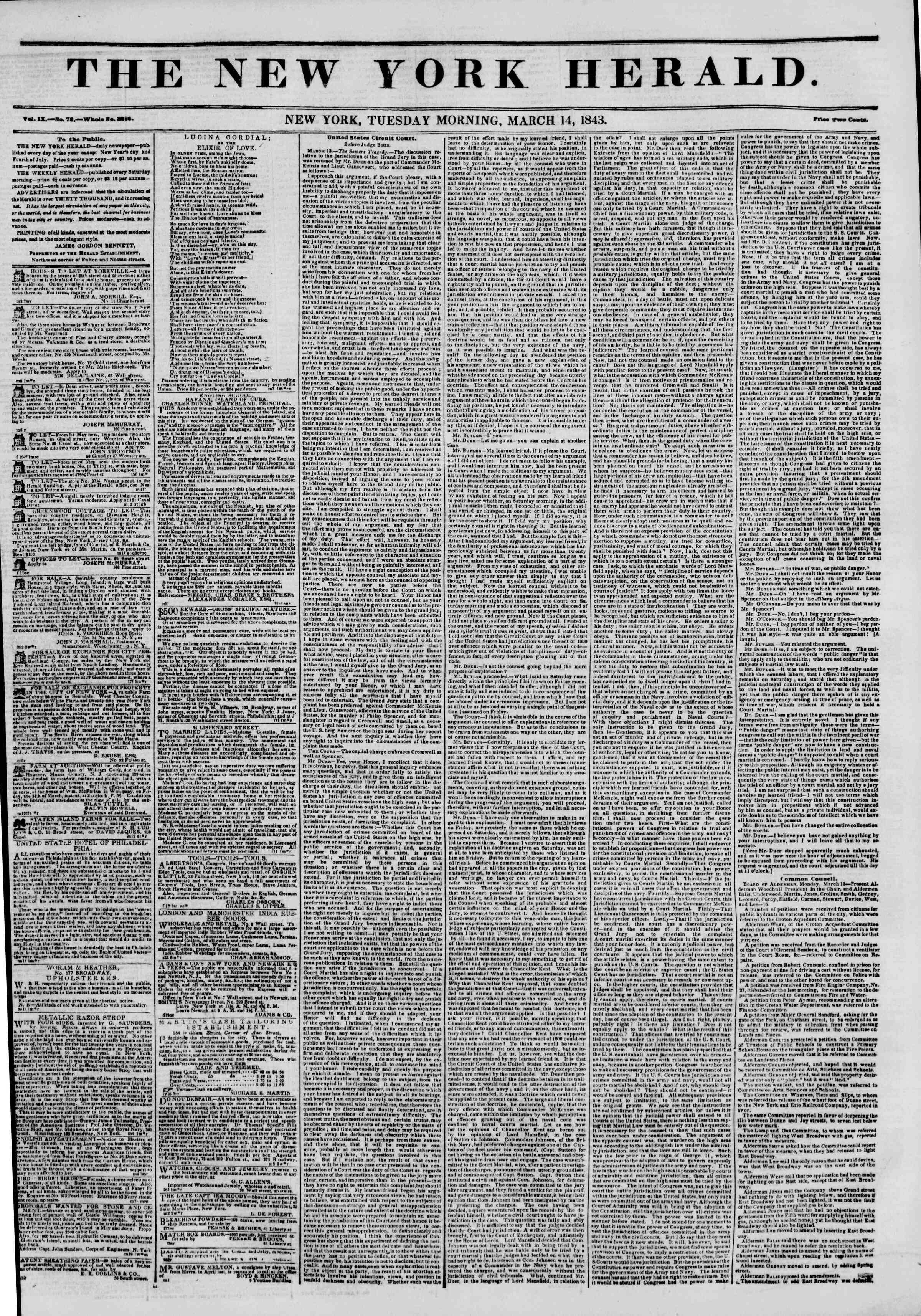 Newspaper of The New York Herald dated March 14, 1843 Page 1