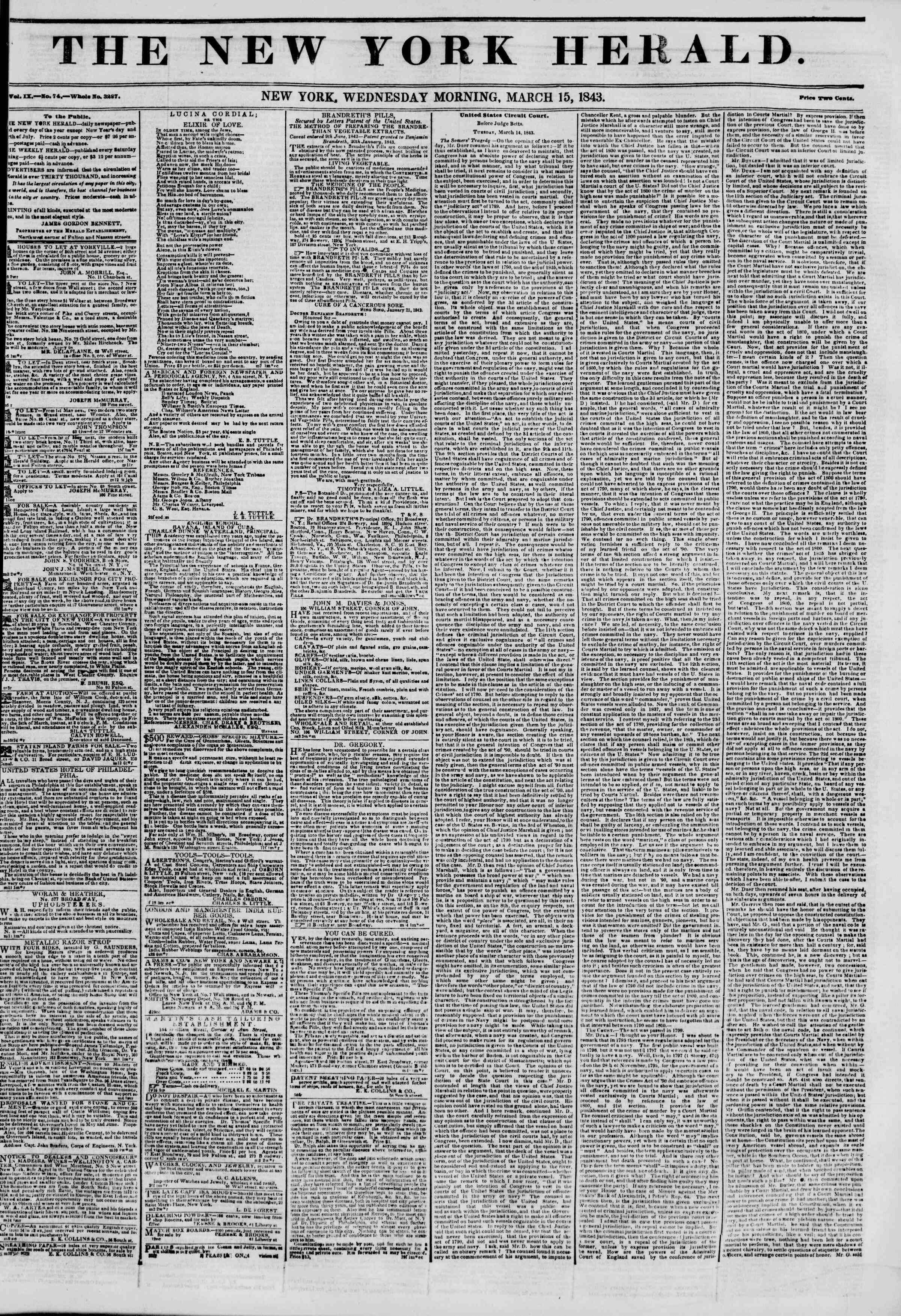 15 Mart 1843 Tarihli The New York Herald Gazetesi Sayfa 1