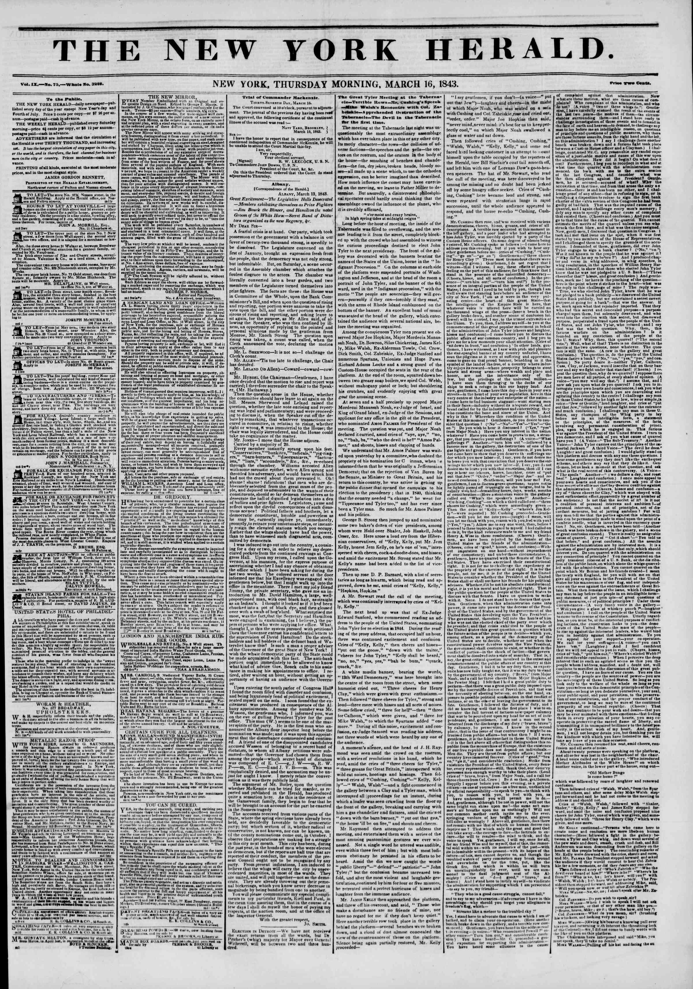 March 16, 1843 Tarihli The New York Herald Gazetesi Sayfa 1