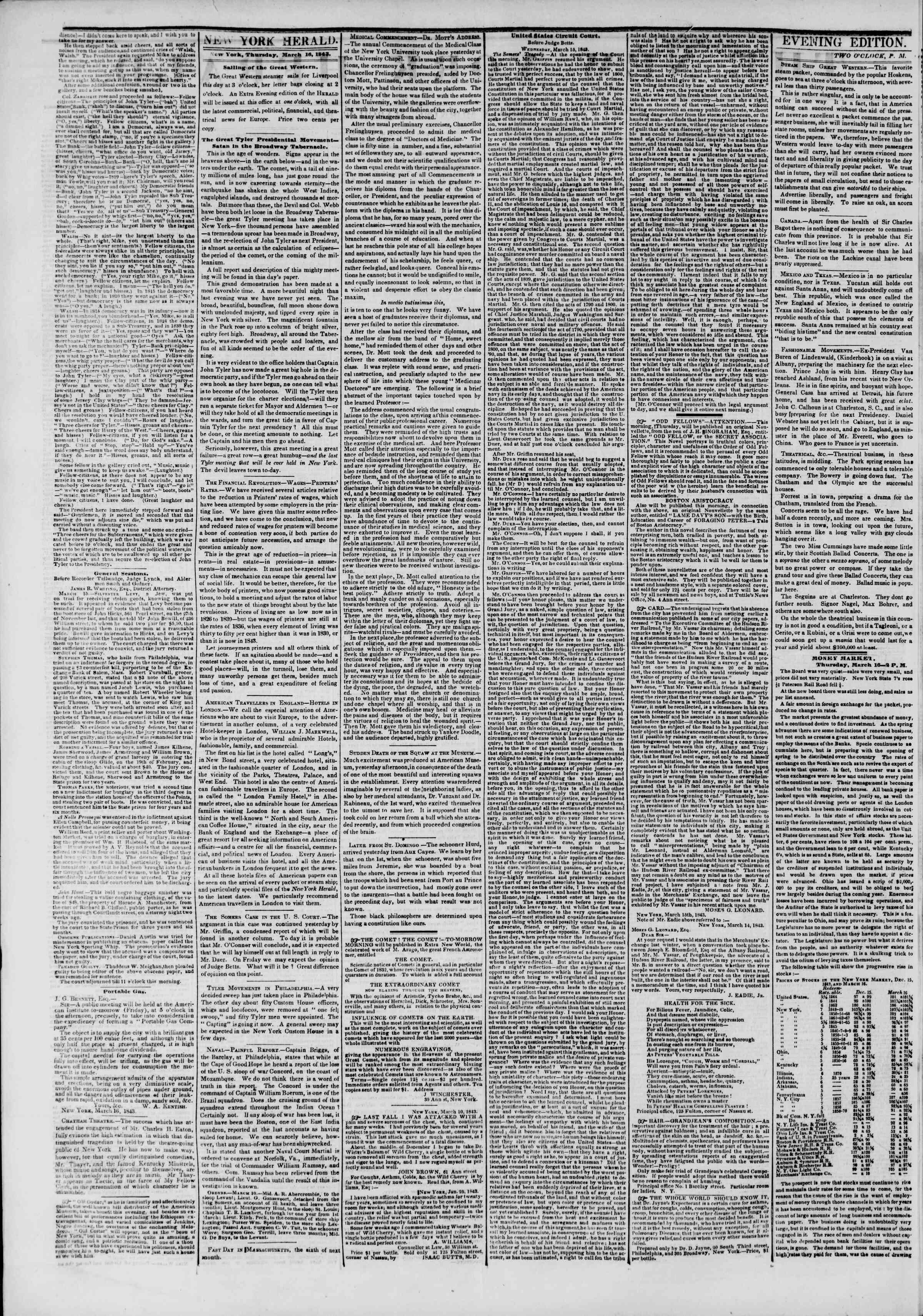 March 16, 1843 Tarihli The New York Herald Gazetesi Sayfa 2