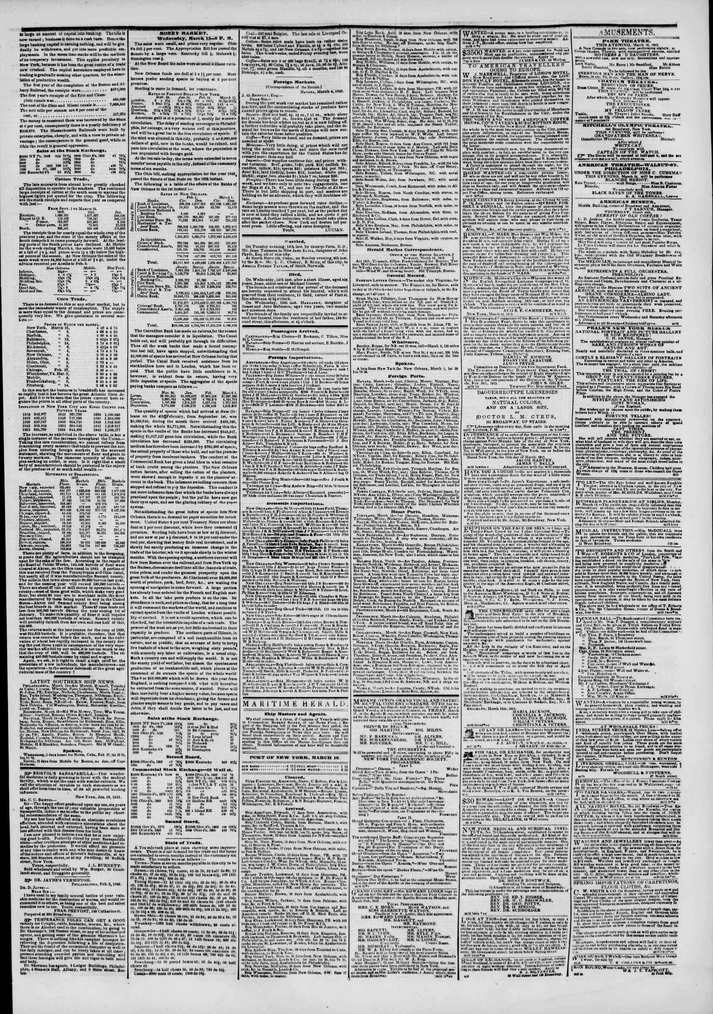 March 16, 1843 Tarihli The New York Herald Gazetesi Sayfa 3