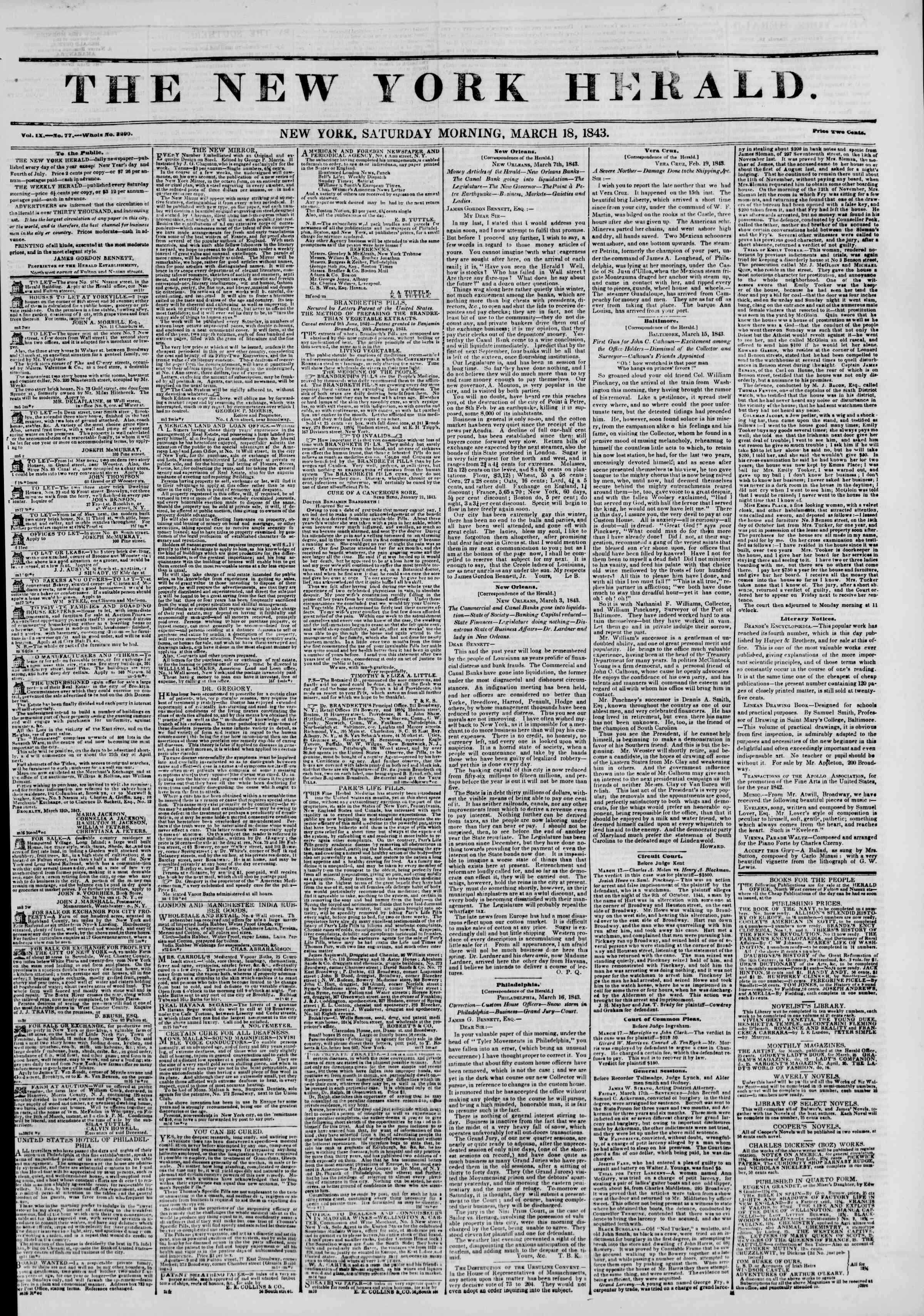 March 18, 1843 Tarihli The New York Herald Gazetesi Sayfa 1