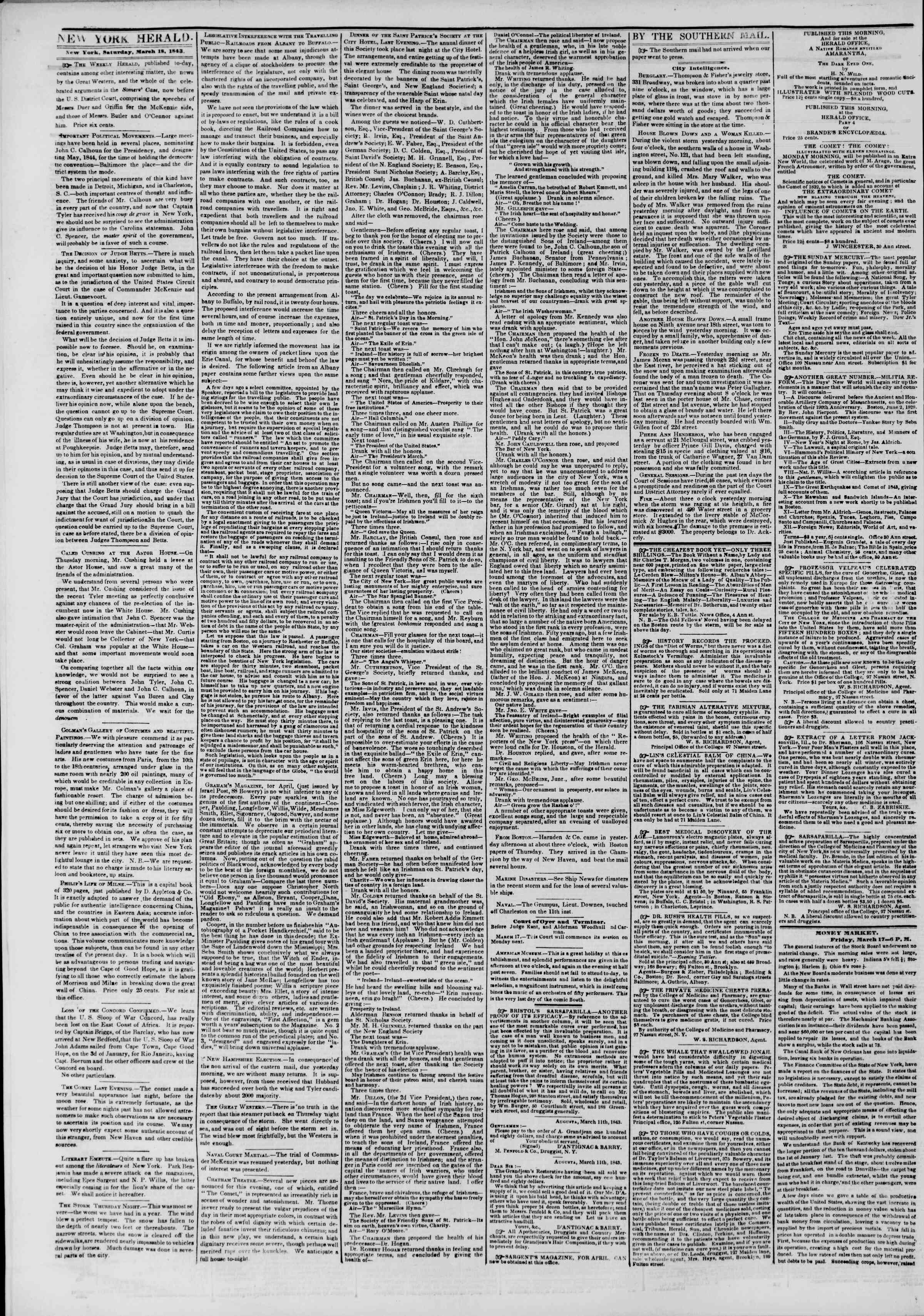 Newspaper of The New York Herald dated March 18, 1843 Page 2