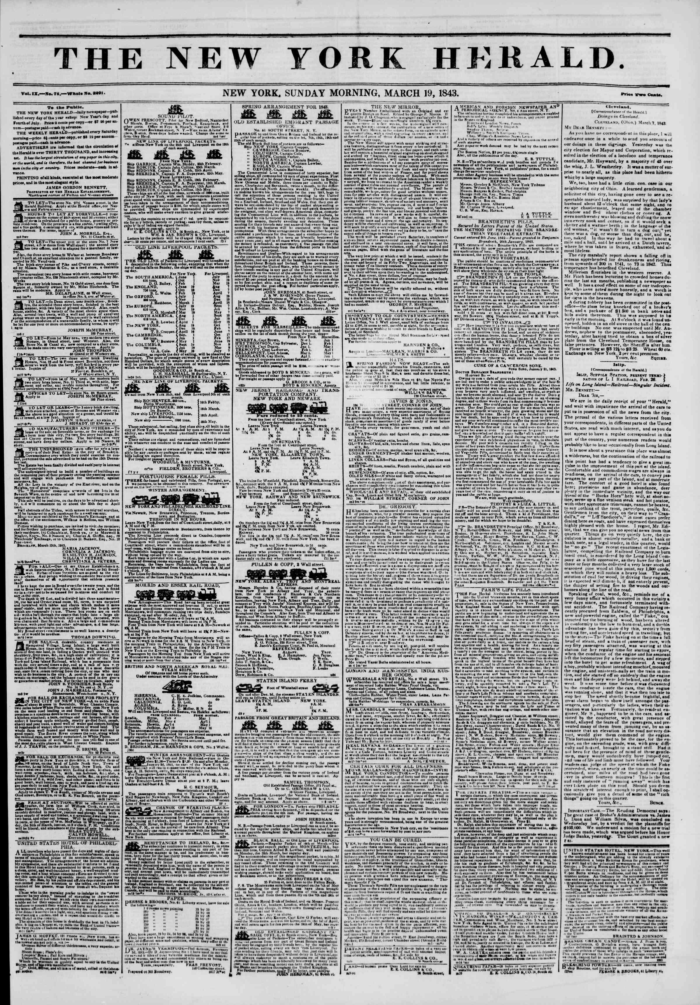 Newspaper of The New York Herald dated March 19, 1843 Page 1