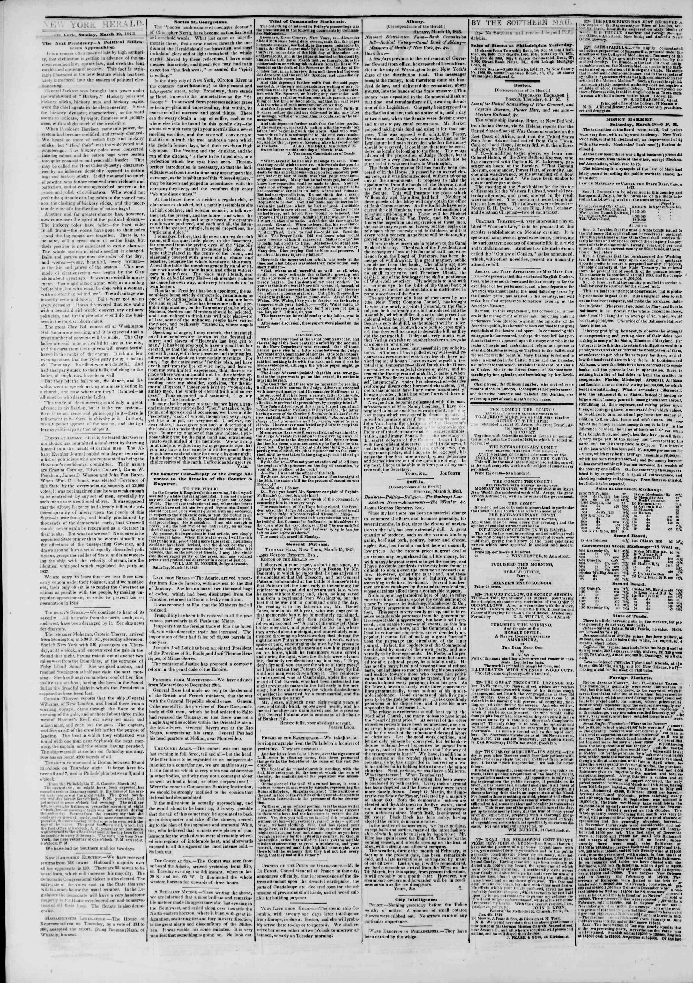 March 19, 1843 Tarihli The New York Herald Gazetesi Sayfa 2
