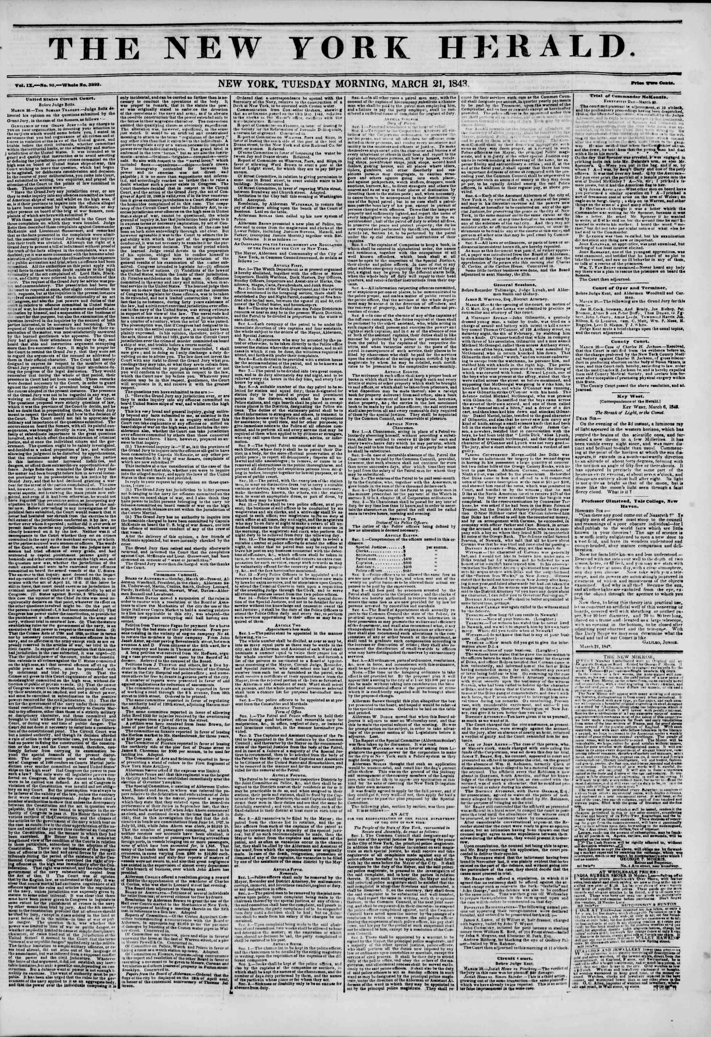 March 21, 1843 Tarihli The New York Herald Gazetesi Sayfa 1