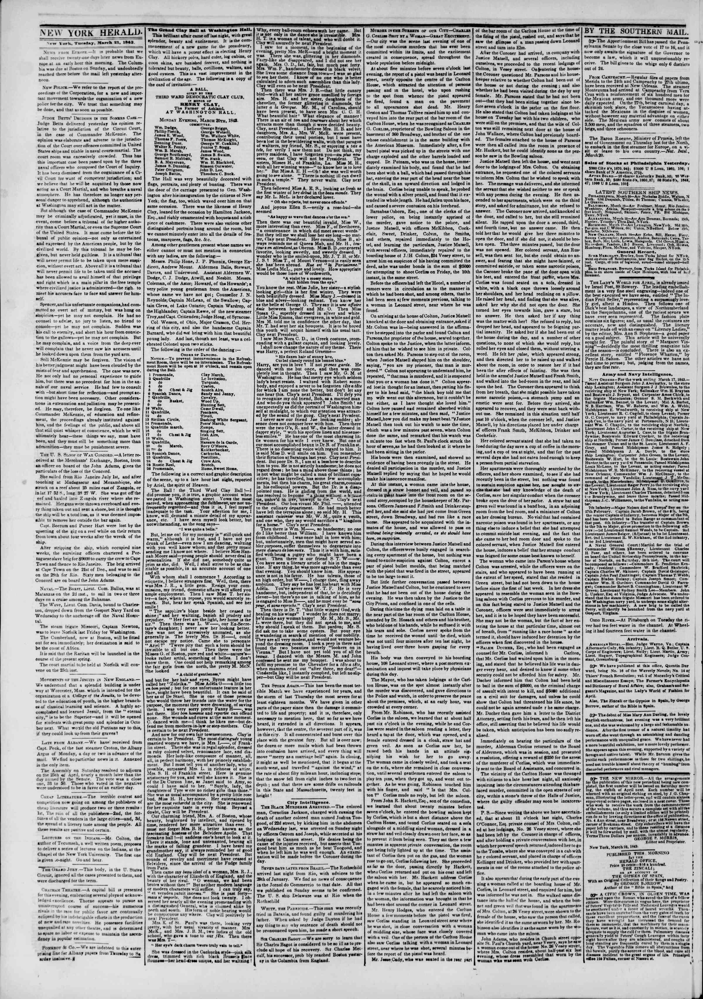 March 21, 1843 Tarihli The New York Herald Gazetesi Sayfa 2
