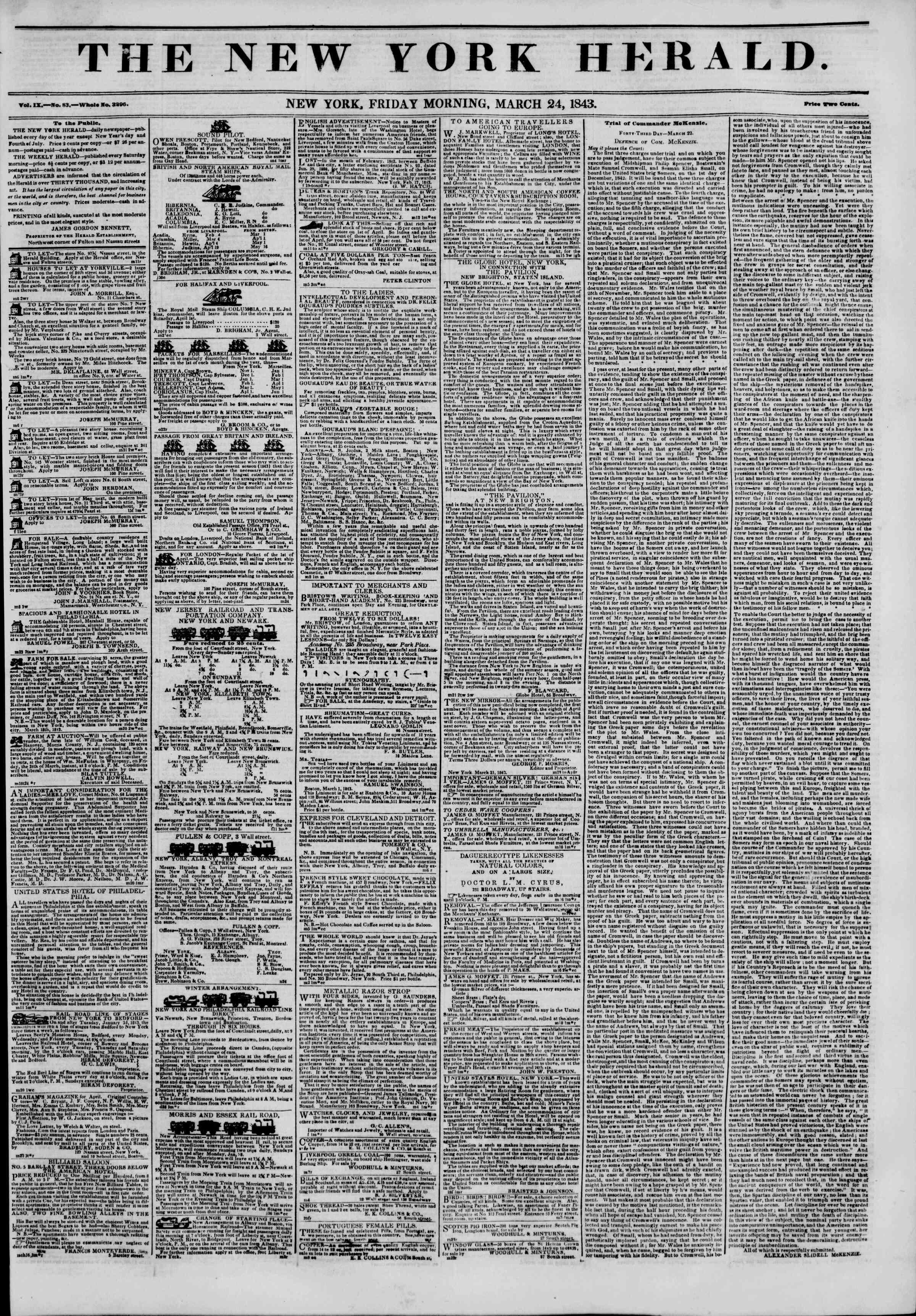 March 24, 1843 Tarihli The New York Herald Gazetesi Sayfa 1