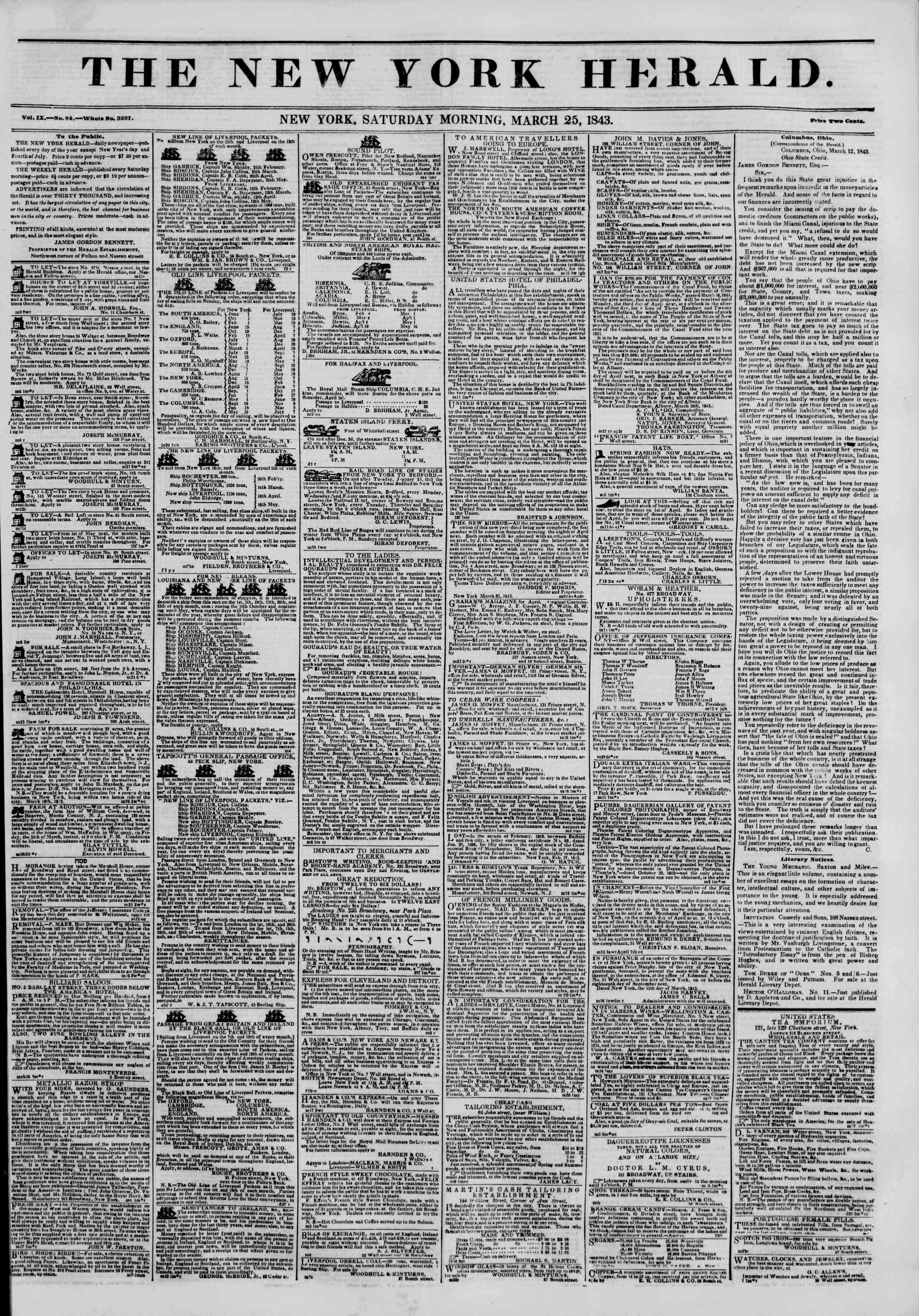 March 25, 1843 Tarihli The New York Herald Gazetesi Sayfa 1