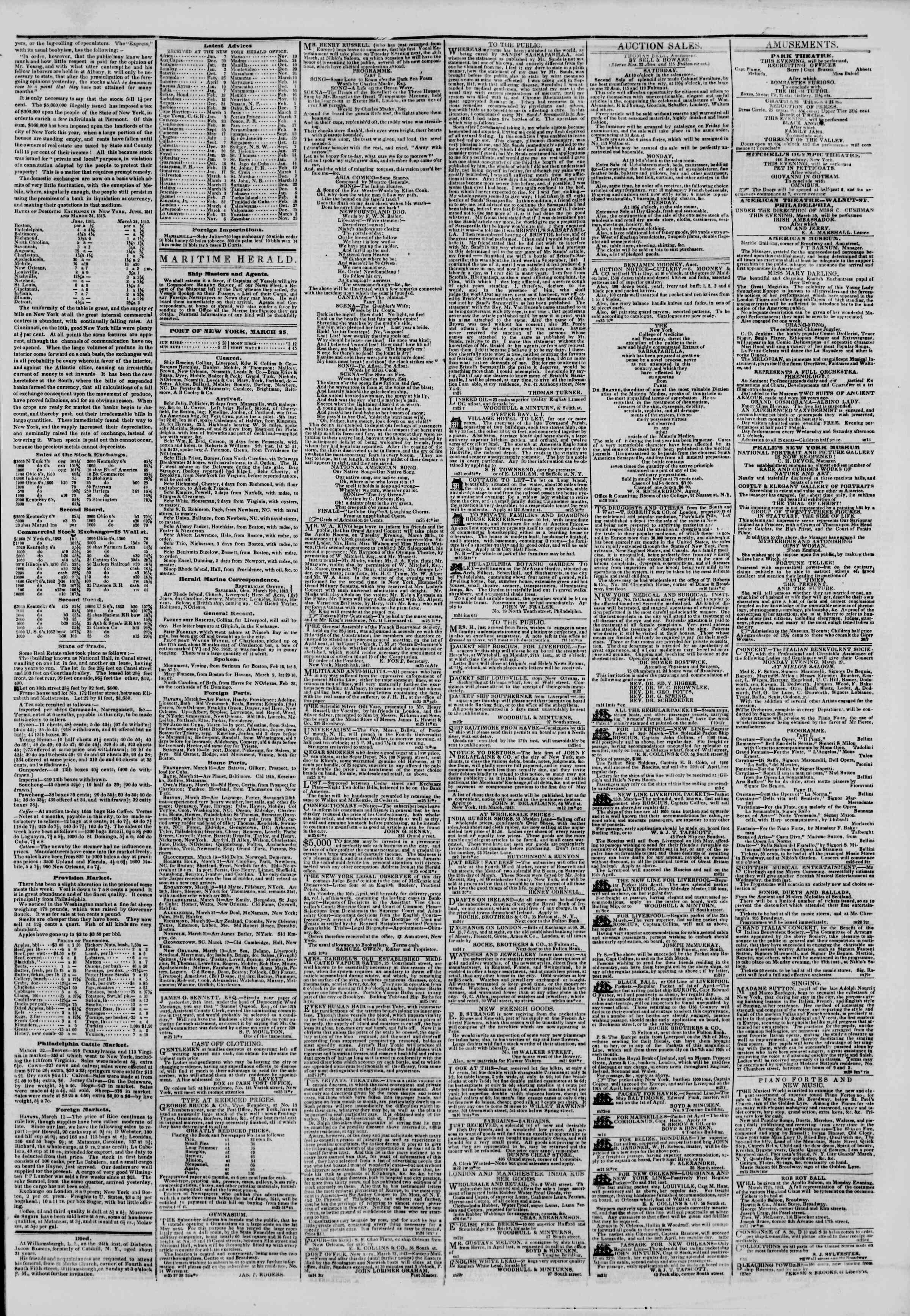 March 25, 1843 Tarihli The New York Herald Gazetesi Sayfa 3