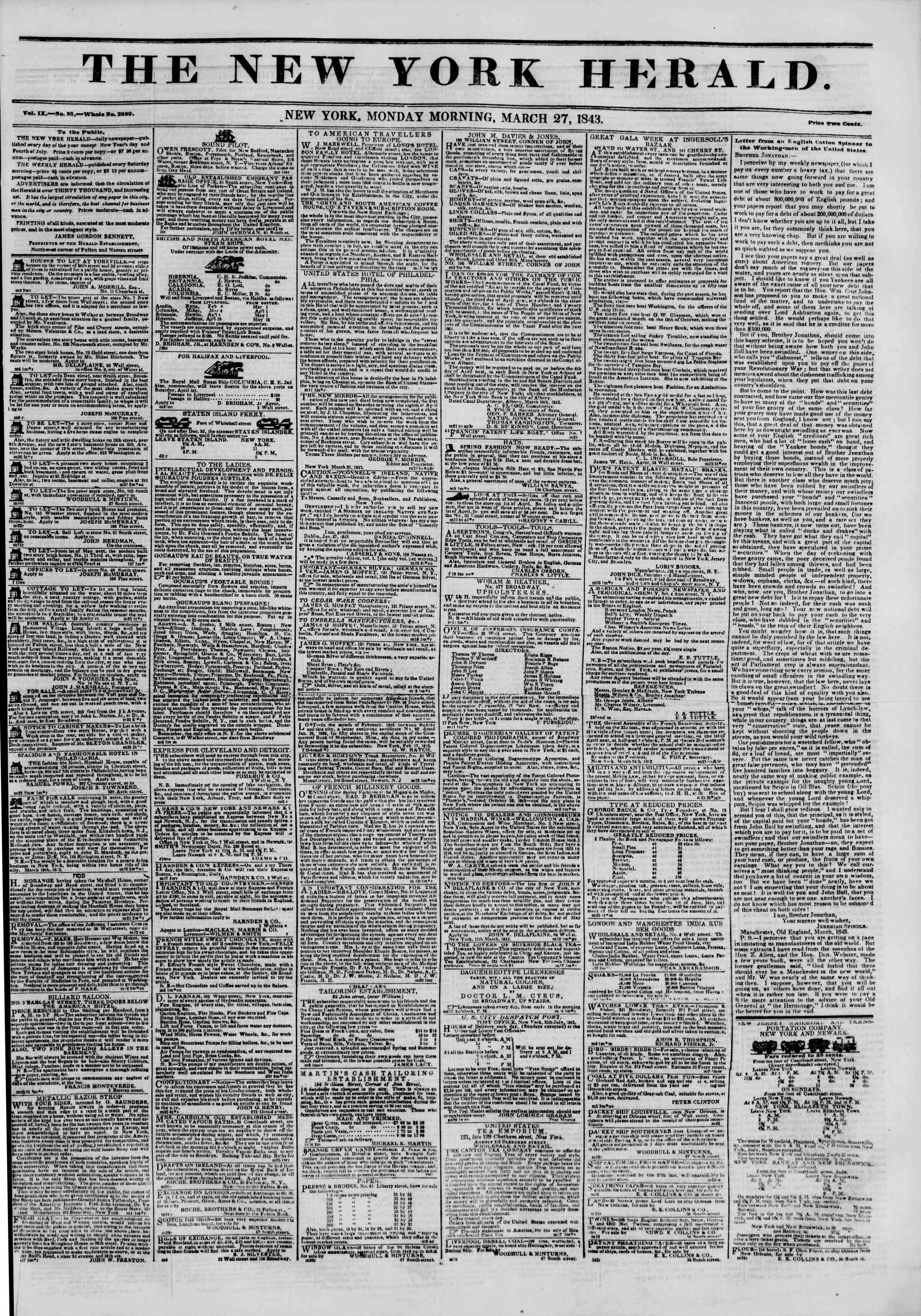 Newspaper of The New York Herald dated March 27, 1843 Page 1