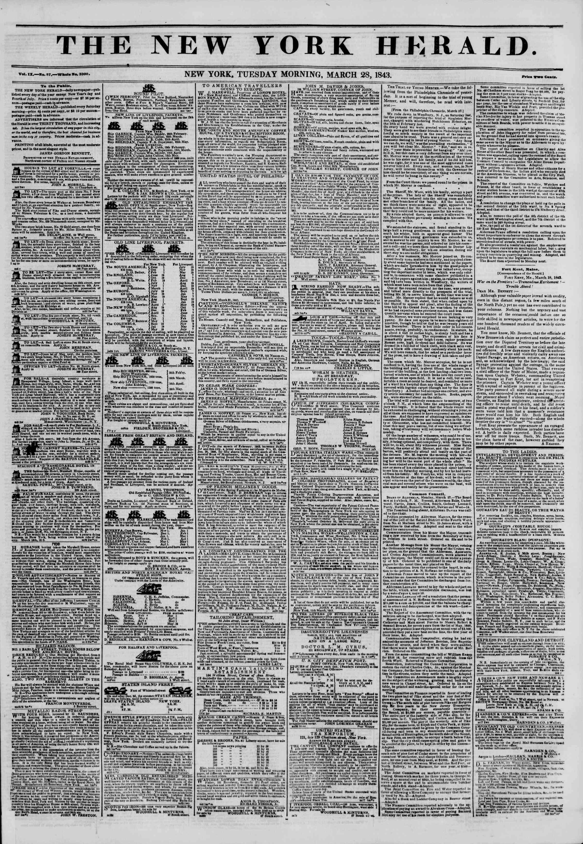 Newspaper of The New York Herald dated March 28, 1843 Page 1