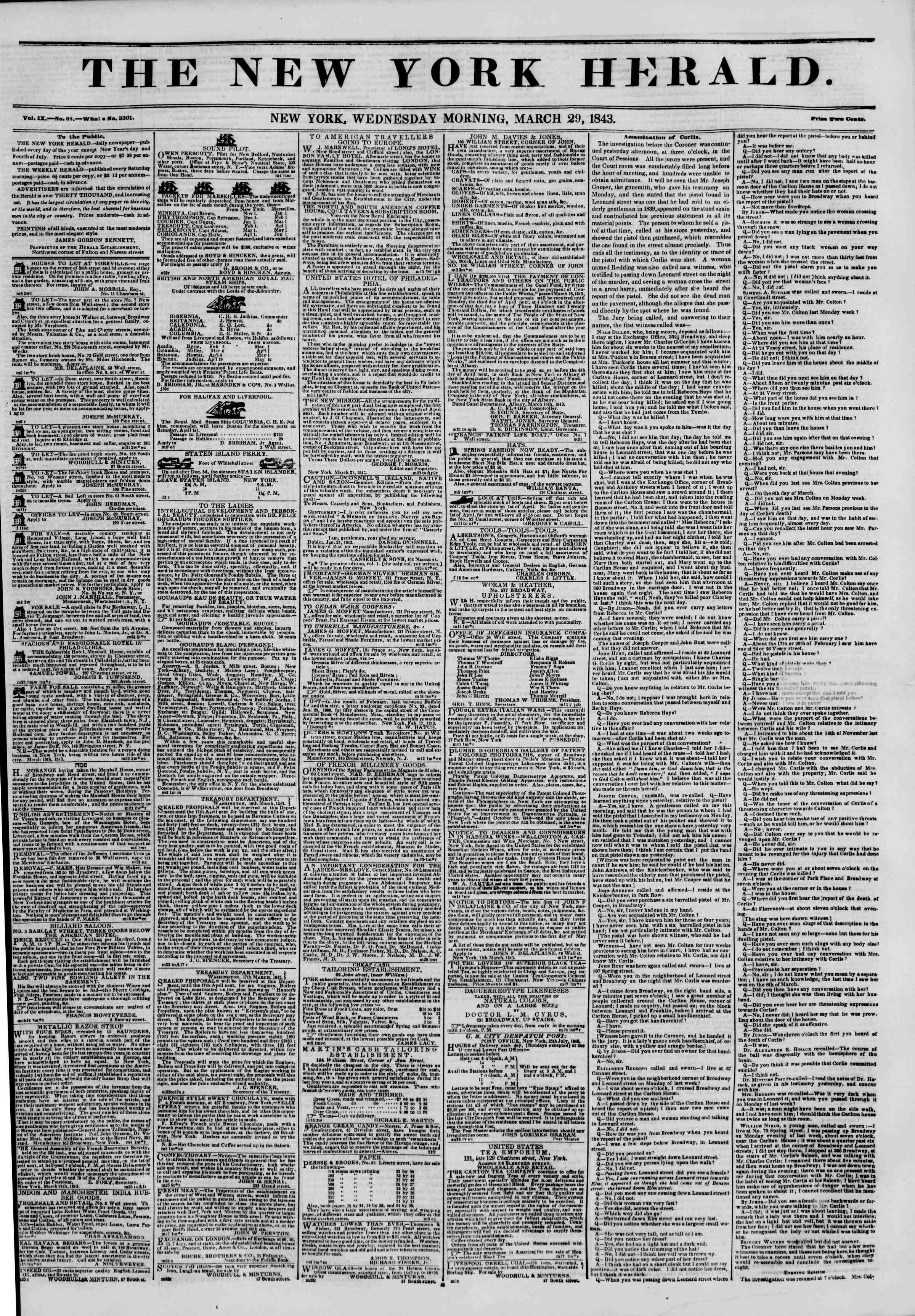 Newspaper of The New York Herald dated March 29, 1843 Page 1