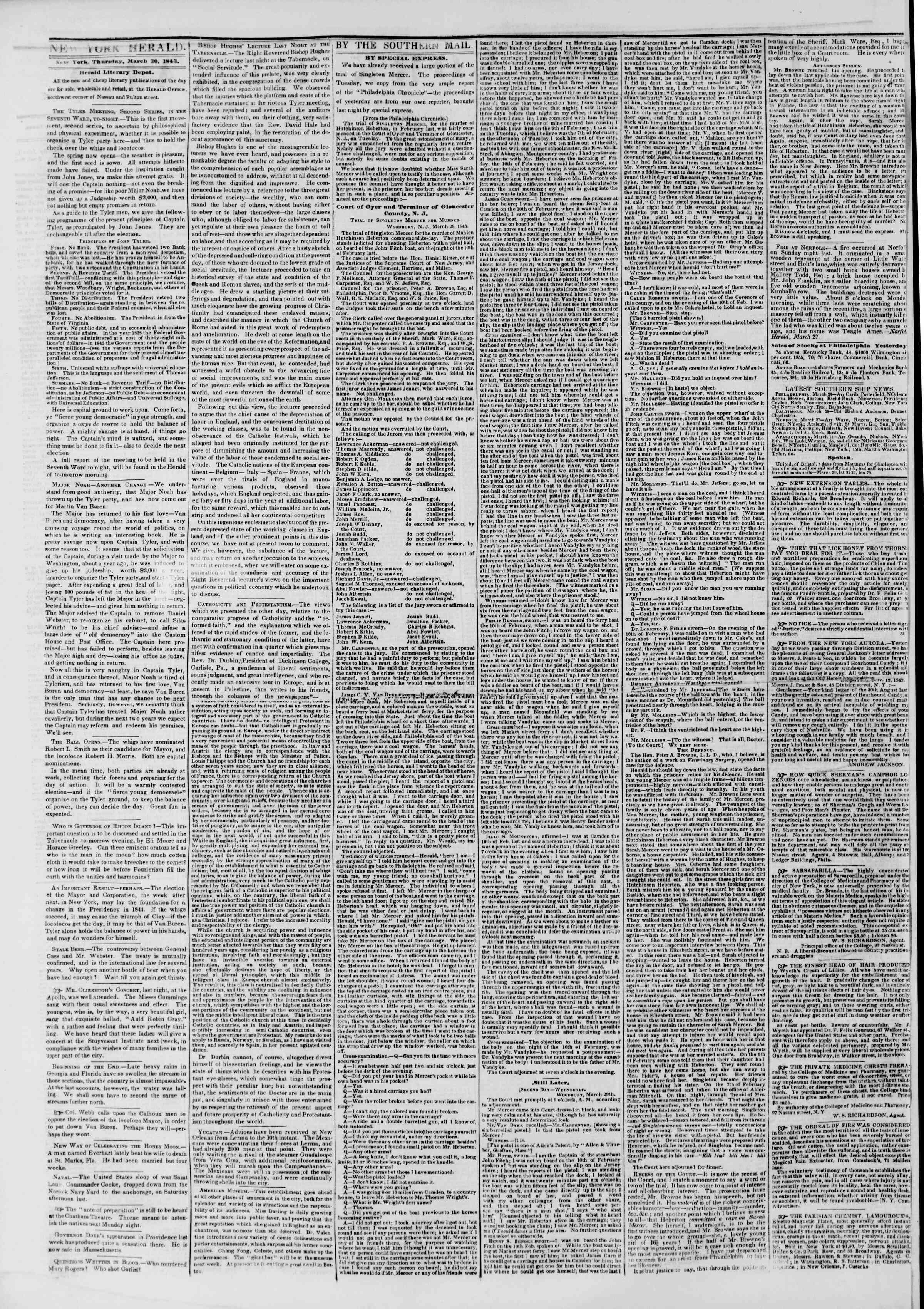 Newspaper of The New York Herald dated March 30, 1843 Page 2