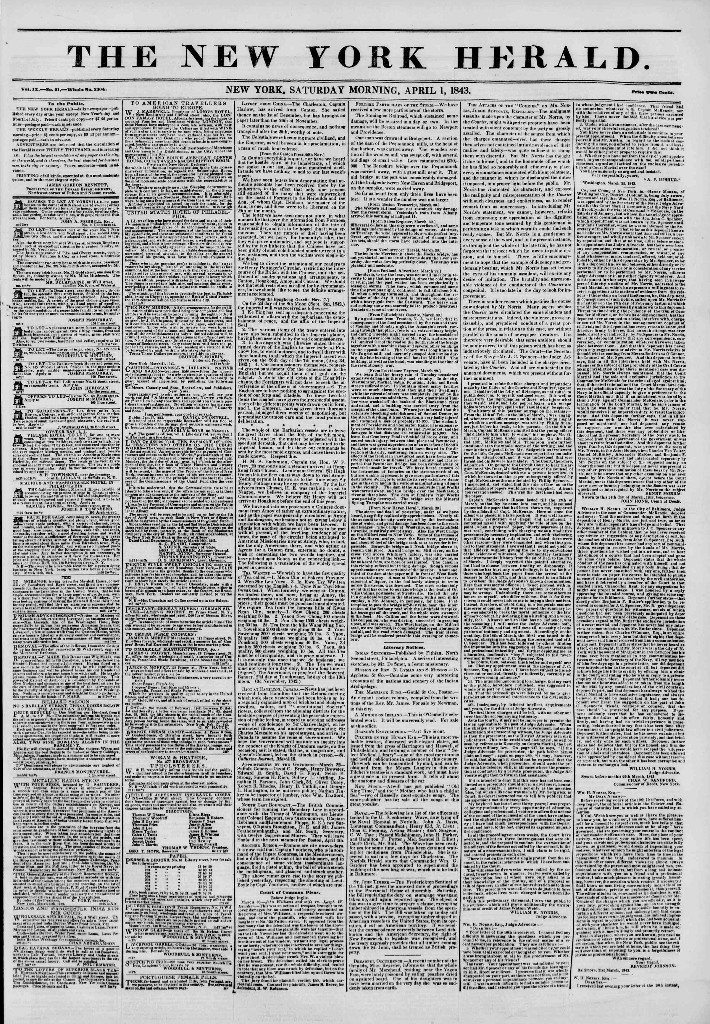 Newspaper of The New York Herald dated April 1, 1843 Page 1