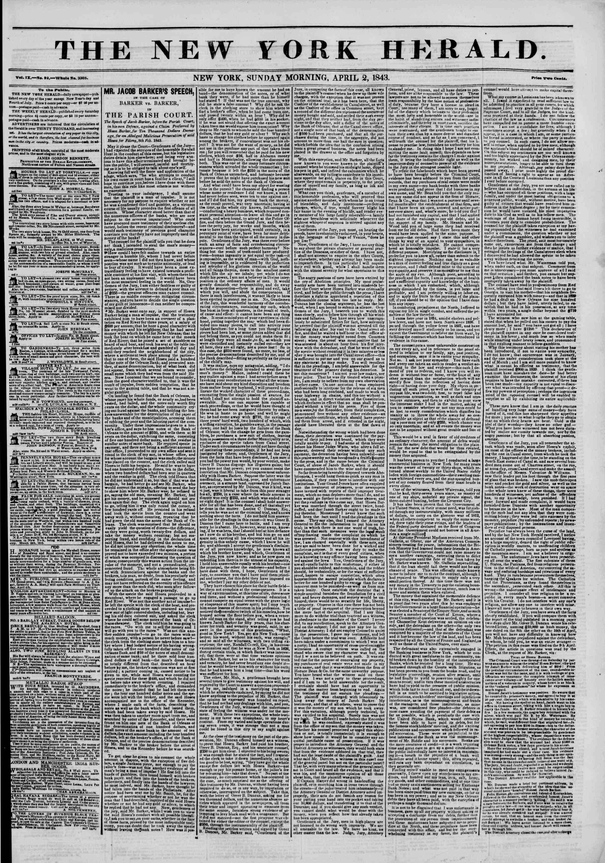 April 2, 1843 Tarihli The New York Herald Gazetesi Sayfa 1