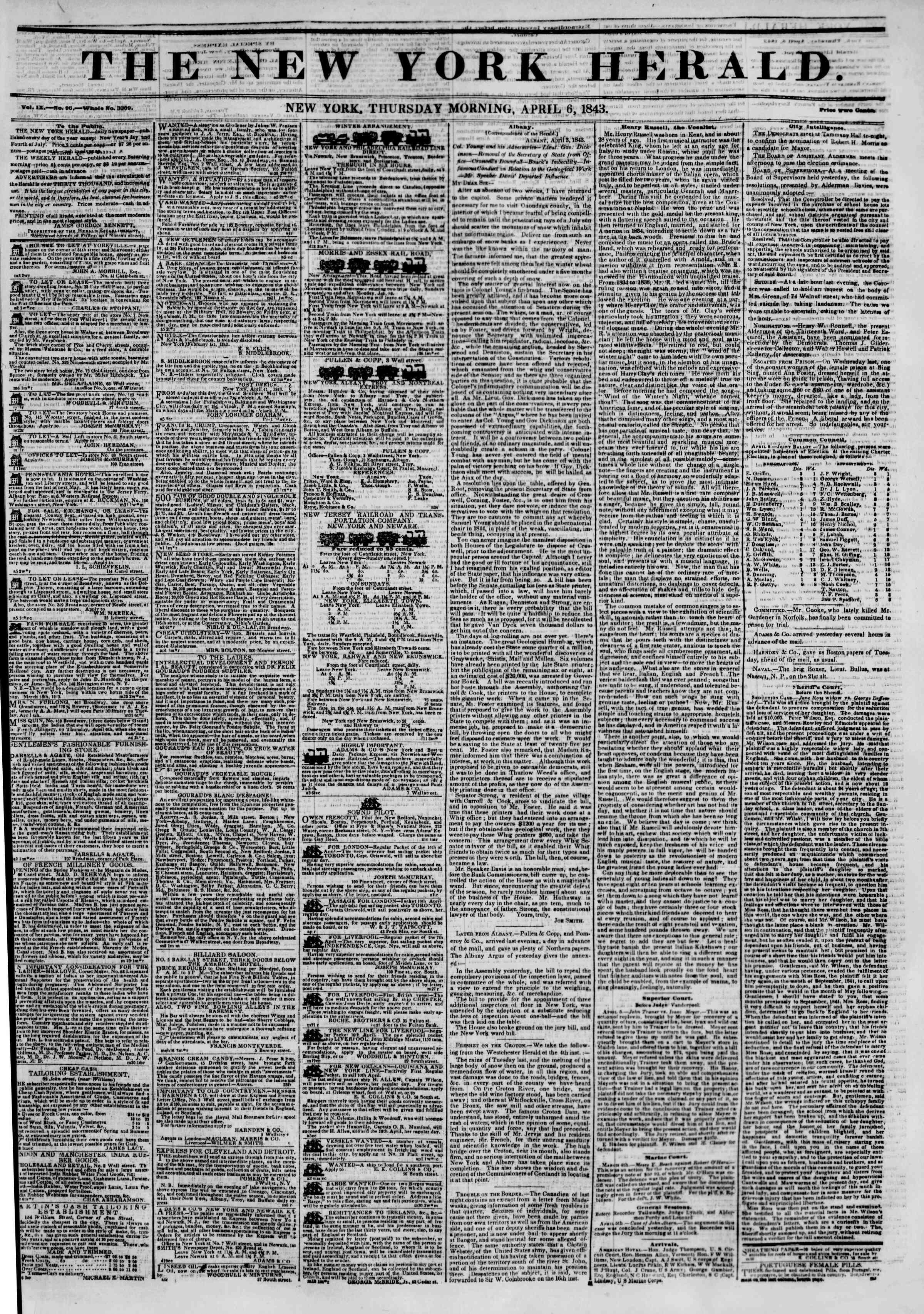 April 6, 1843 Tarihli The New York Herald Gazetesi Sayfa 1